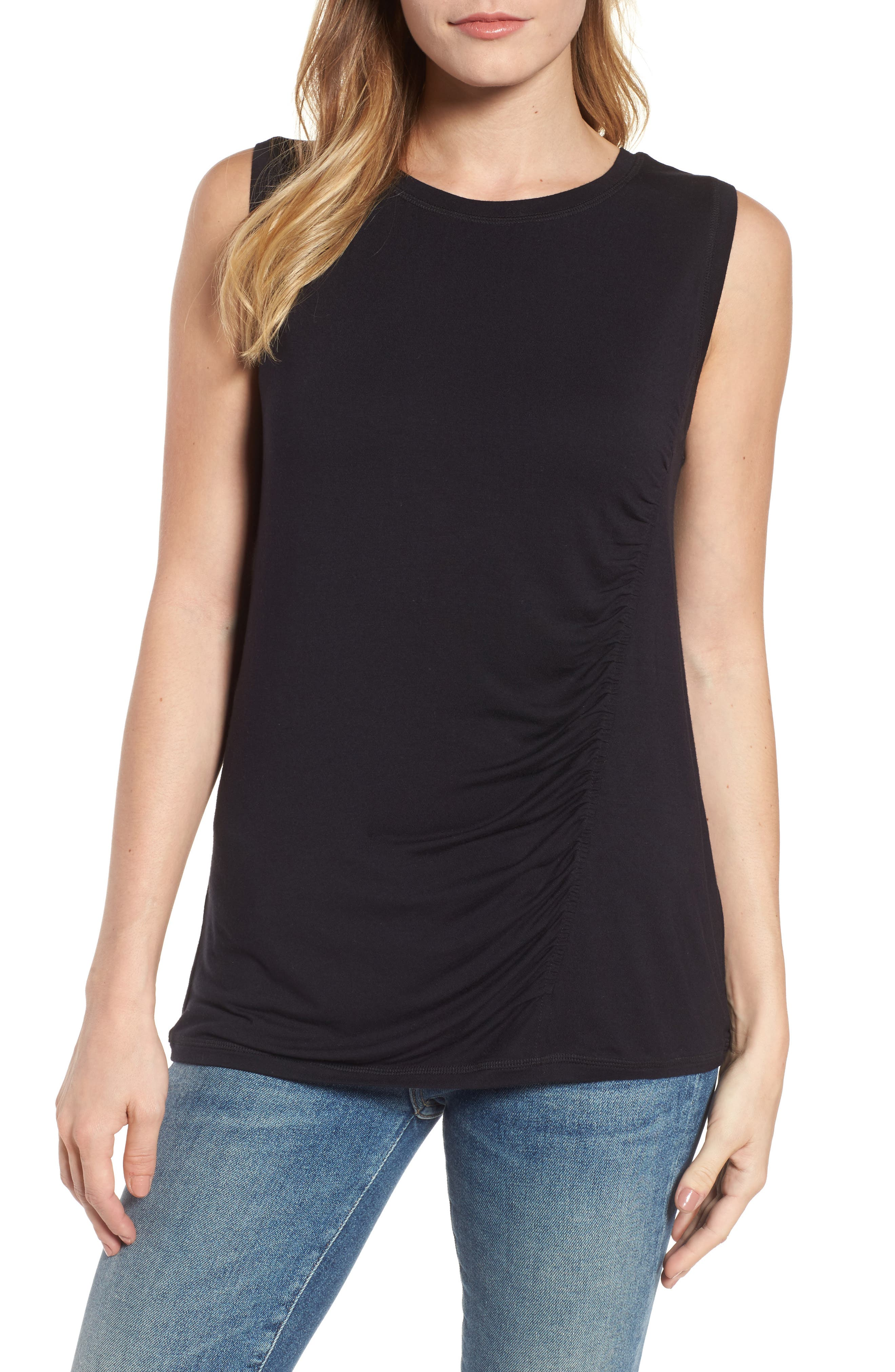Off-Duty Shirred Sleeveless Tee,                             Main thumbnail 1, color,