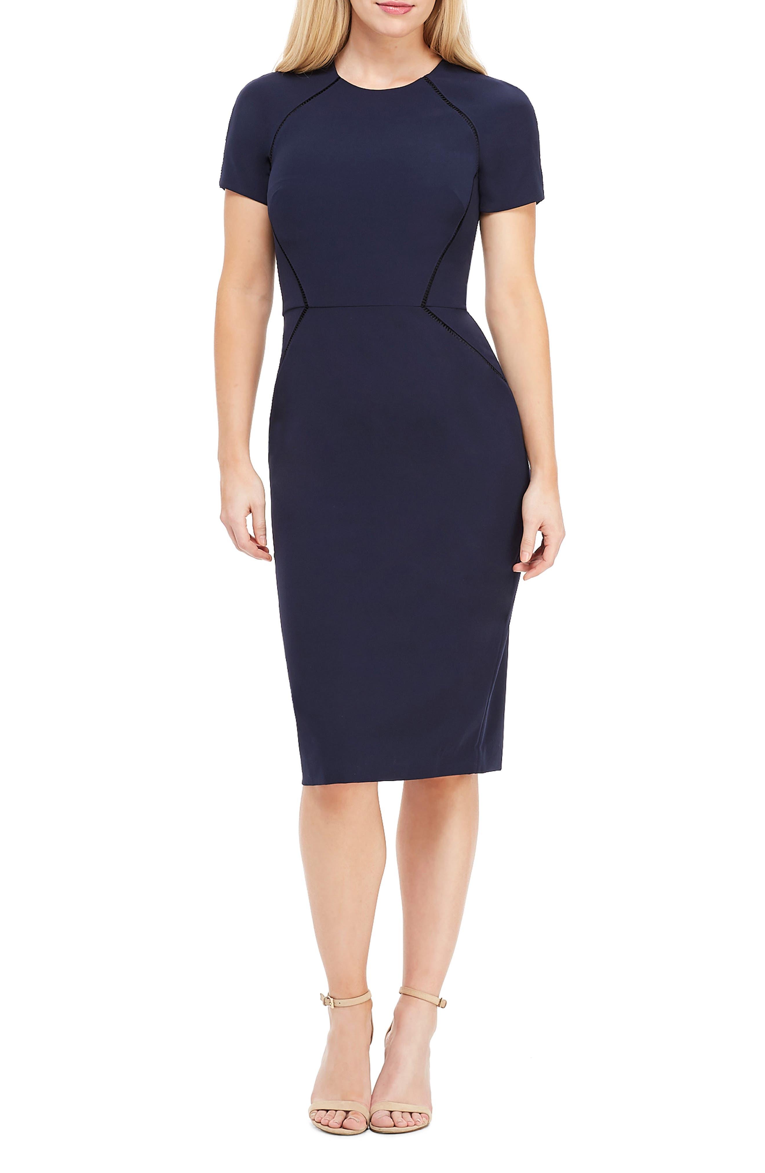 Petite Maggy London Ladder Trim Sheath Dress, Blue