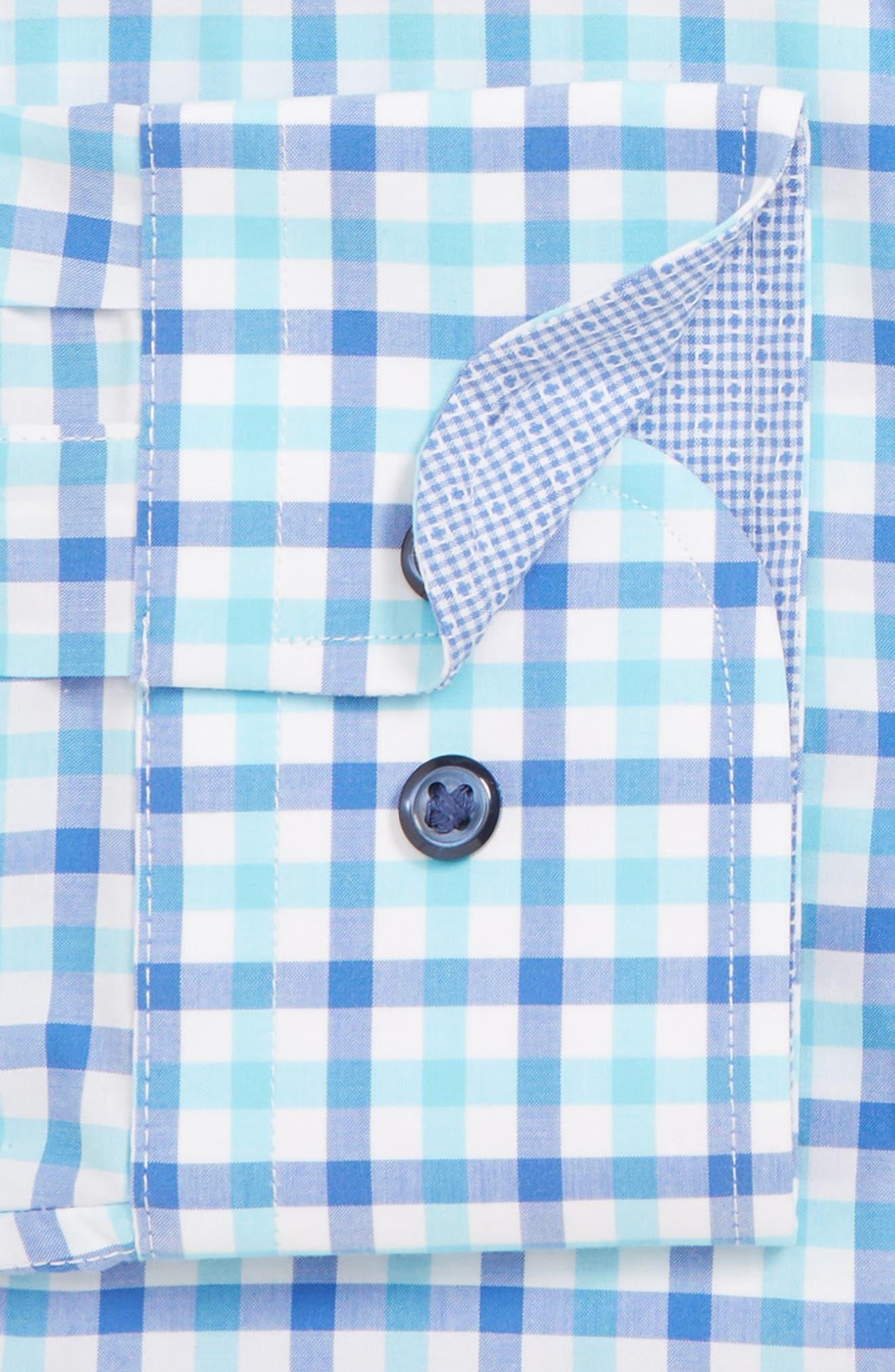 Trim Fit Non-Iron Plaid Dress Shirt,                             Alternate thumbnail 2, color,                             BLUE CAMP