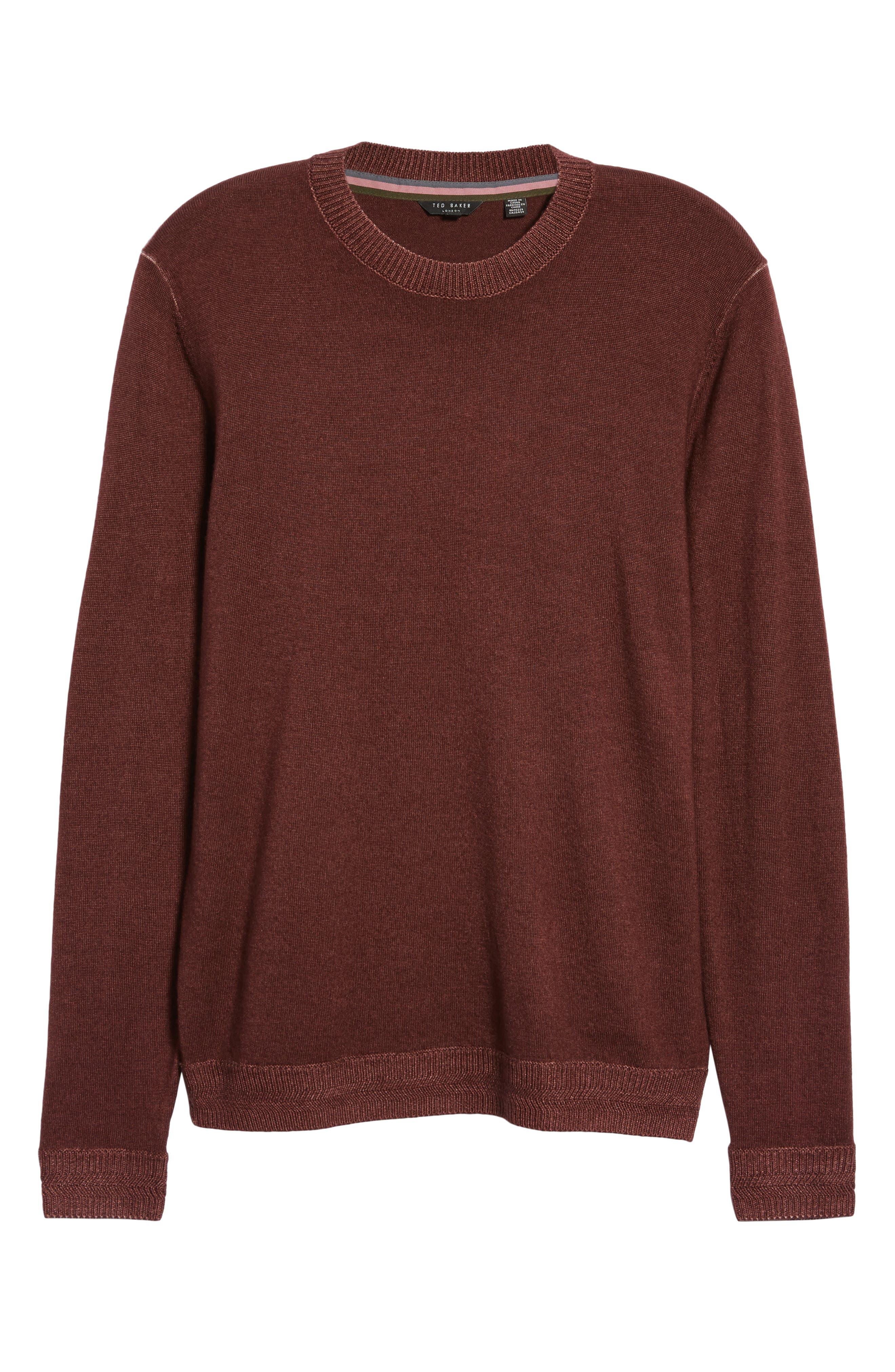 Trim Fit Newab Garment Dyed Wool Sweater,                             Alternate thumbnail 6, color,                             MAROON