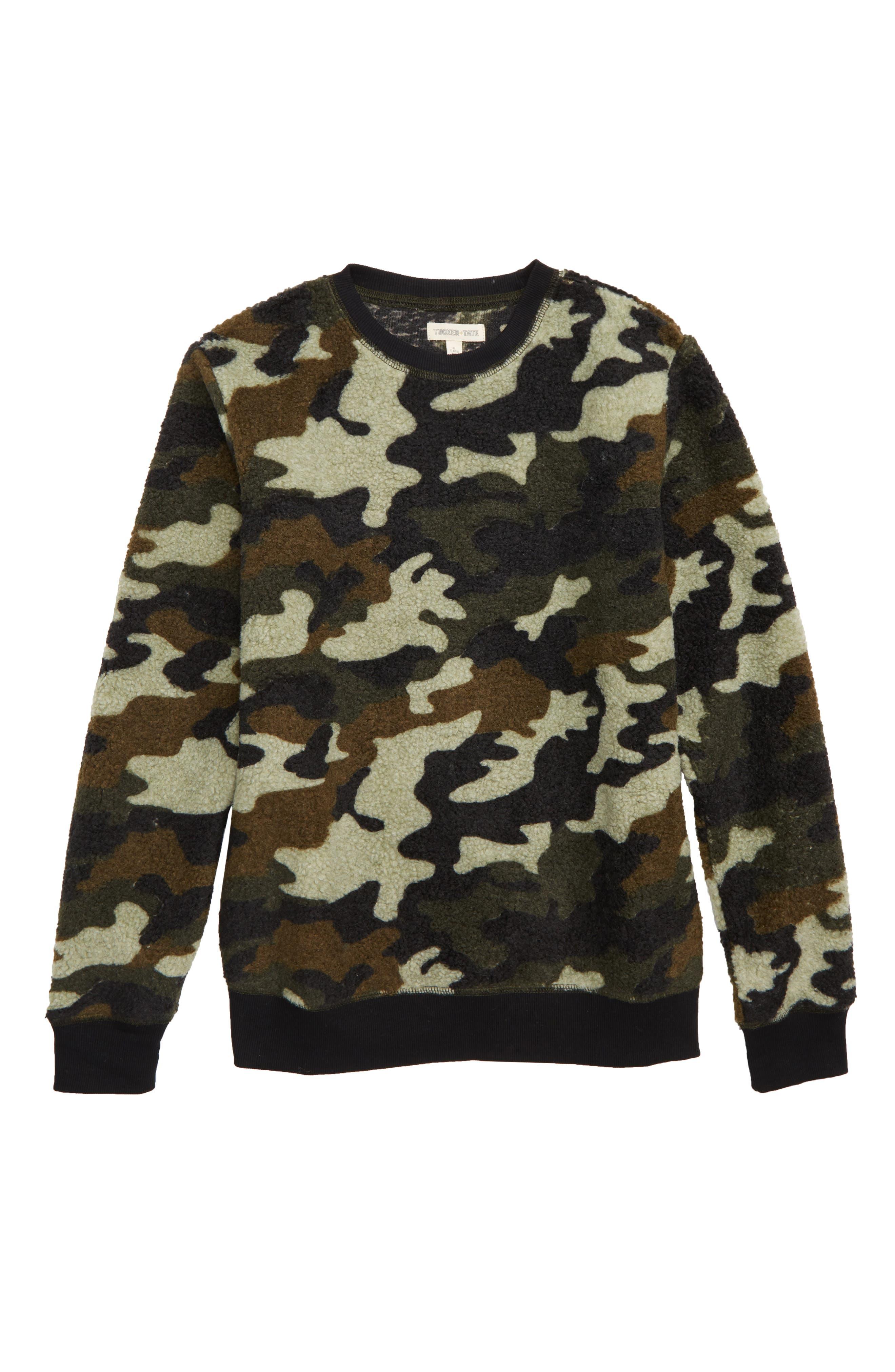 Fleece Camo Crewneck Sweatshirt,                         Main,                         color, OLIVE SARMA CAMOUFLAGE