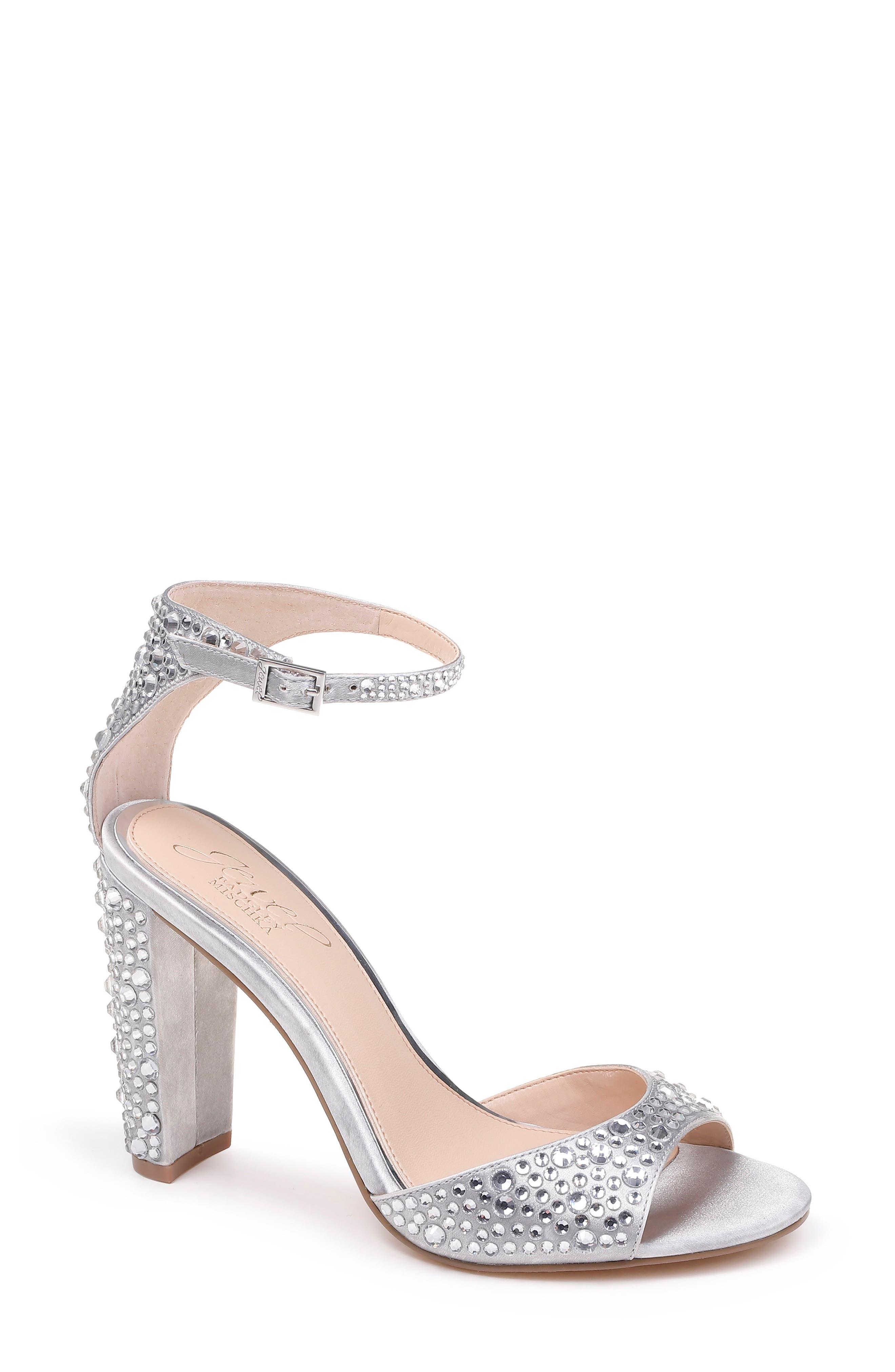 Jewel Badgley Mischka Jillian Crystal Sandal, Metallic