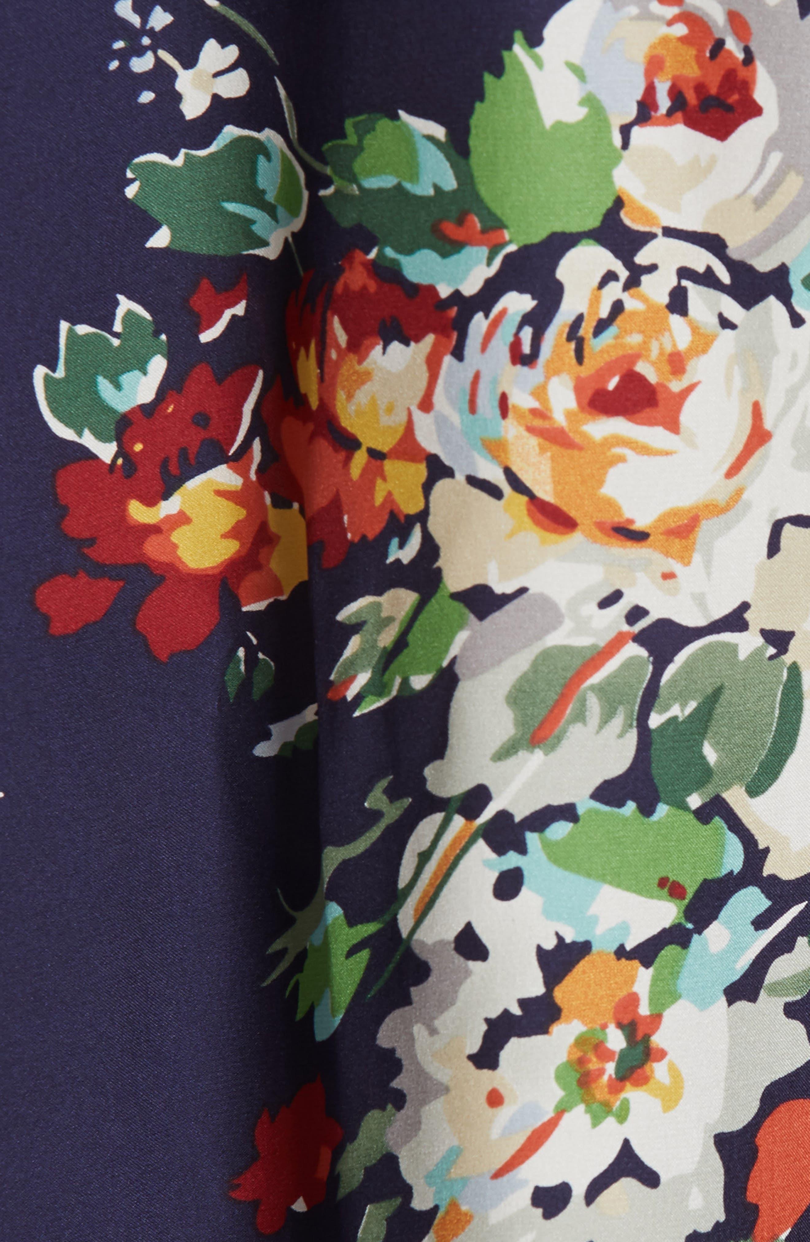 Floral Silk Blouse,                             Alternate thumbnail 5, color,                             NIGHTFALL FLORAL PRINT