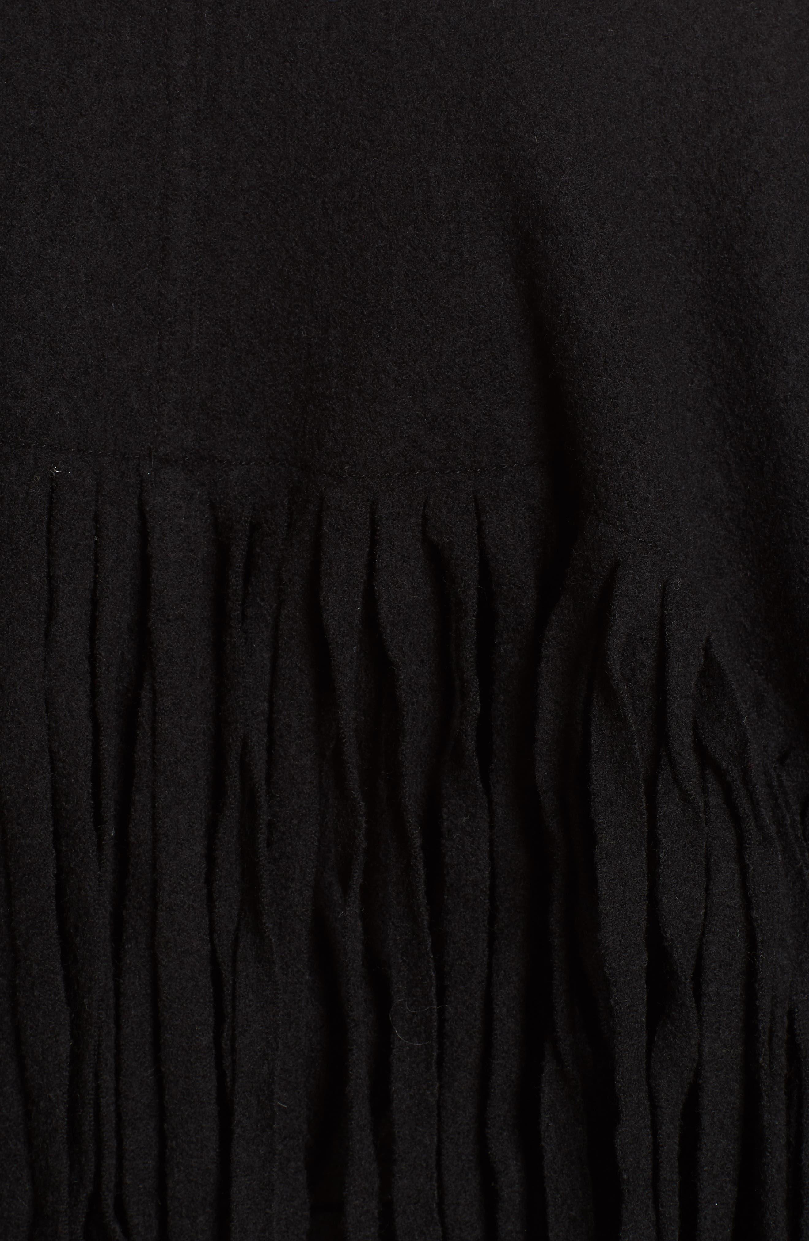 Fringe Detail Boiled Wool & Cashmere Wrap Coat,                             Alternate thumbnail 6, color,                             BLACK