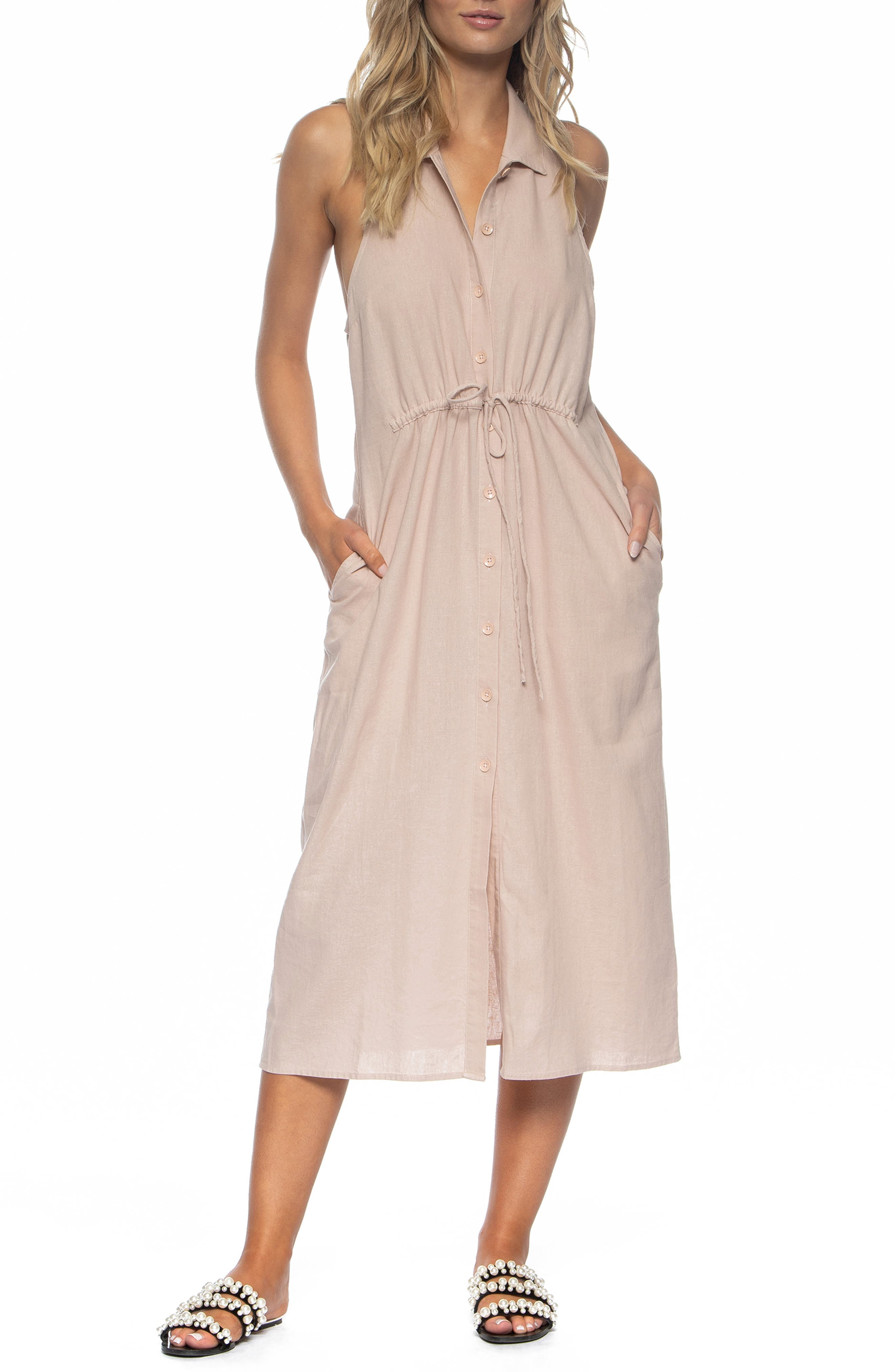 Maggie Cover-Up Midi Dress, Main, color, SEASHELL