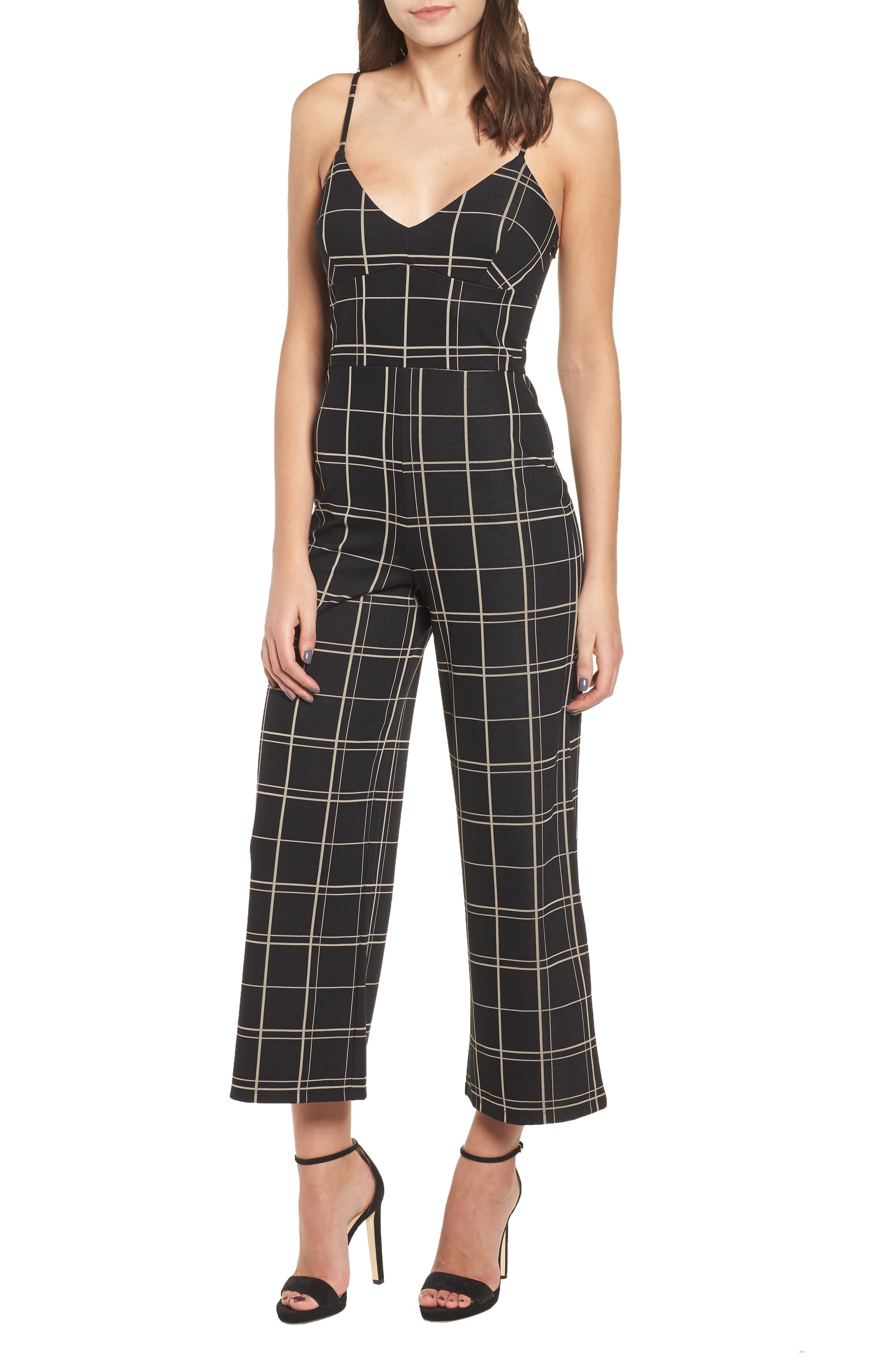 Windowpane Check Jumpsuit,                             Main thumbnail 1, color,                             BLACK GLAM CITY WINDOWS