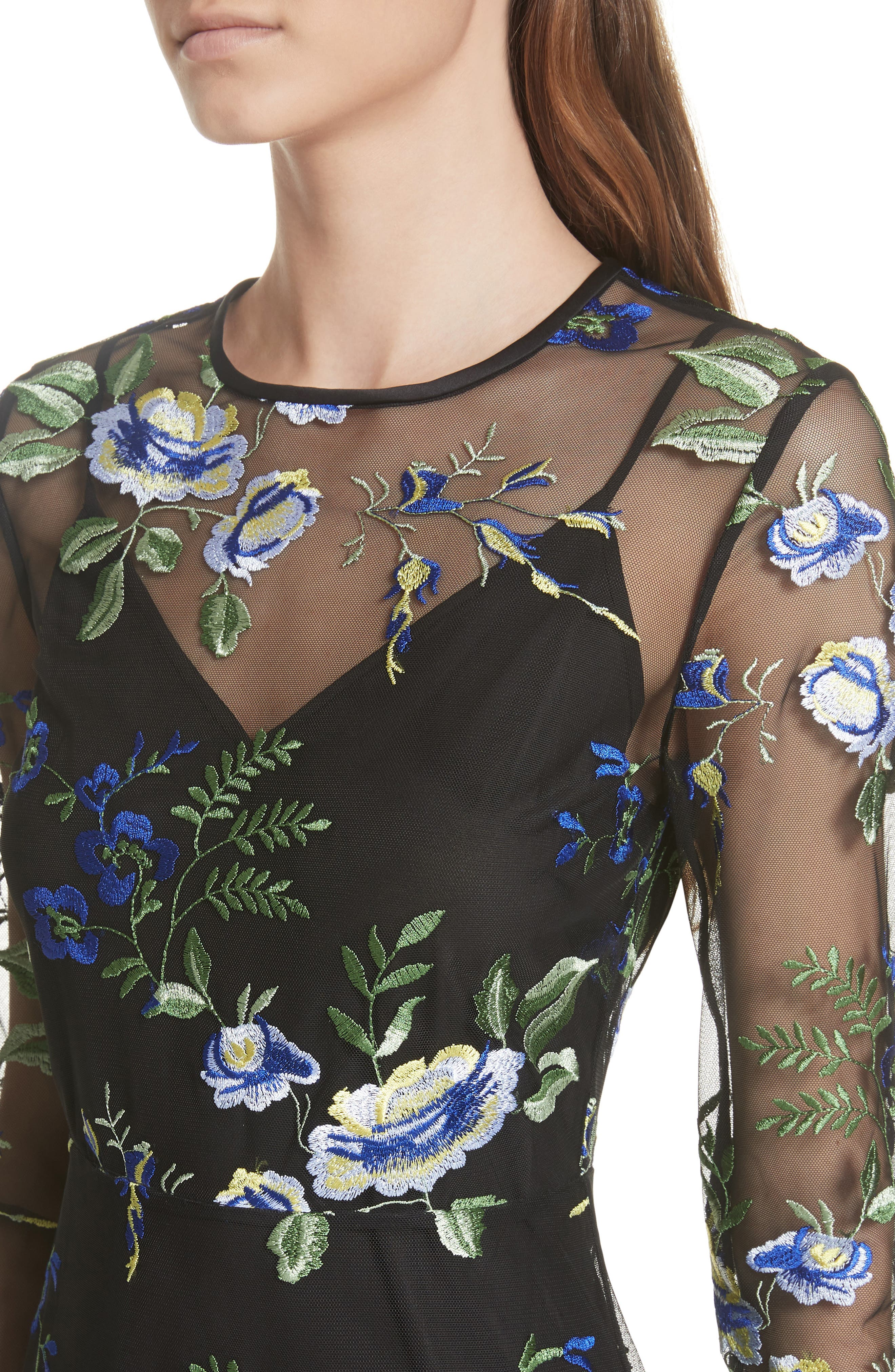Embroidered Overlay Dress,                             Alternate thumbnail 4, color,                             002