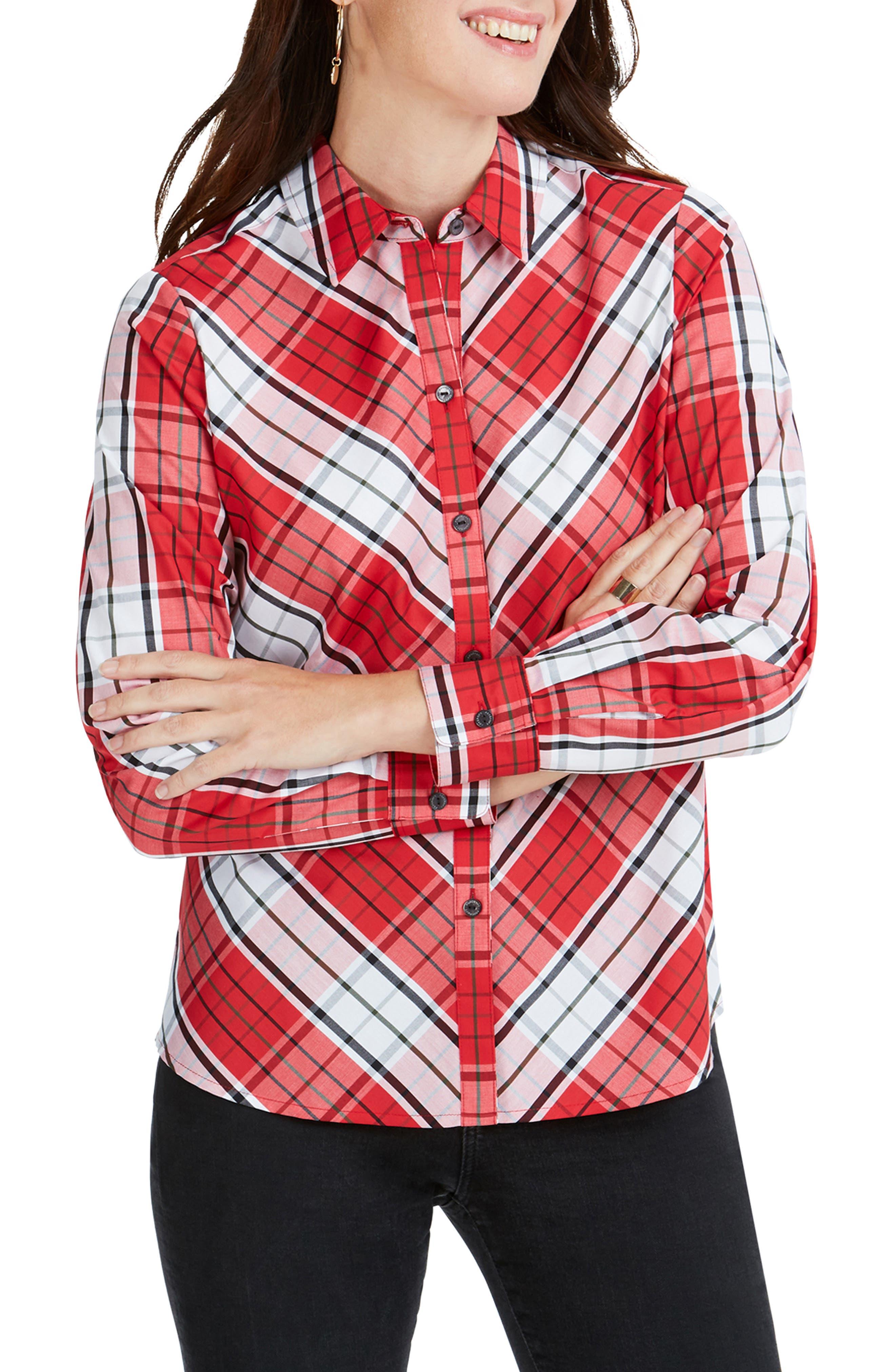 Foxcroft Tina Campbell Tartan Shirt, Red
