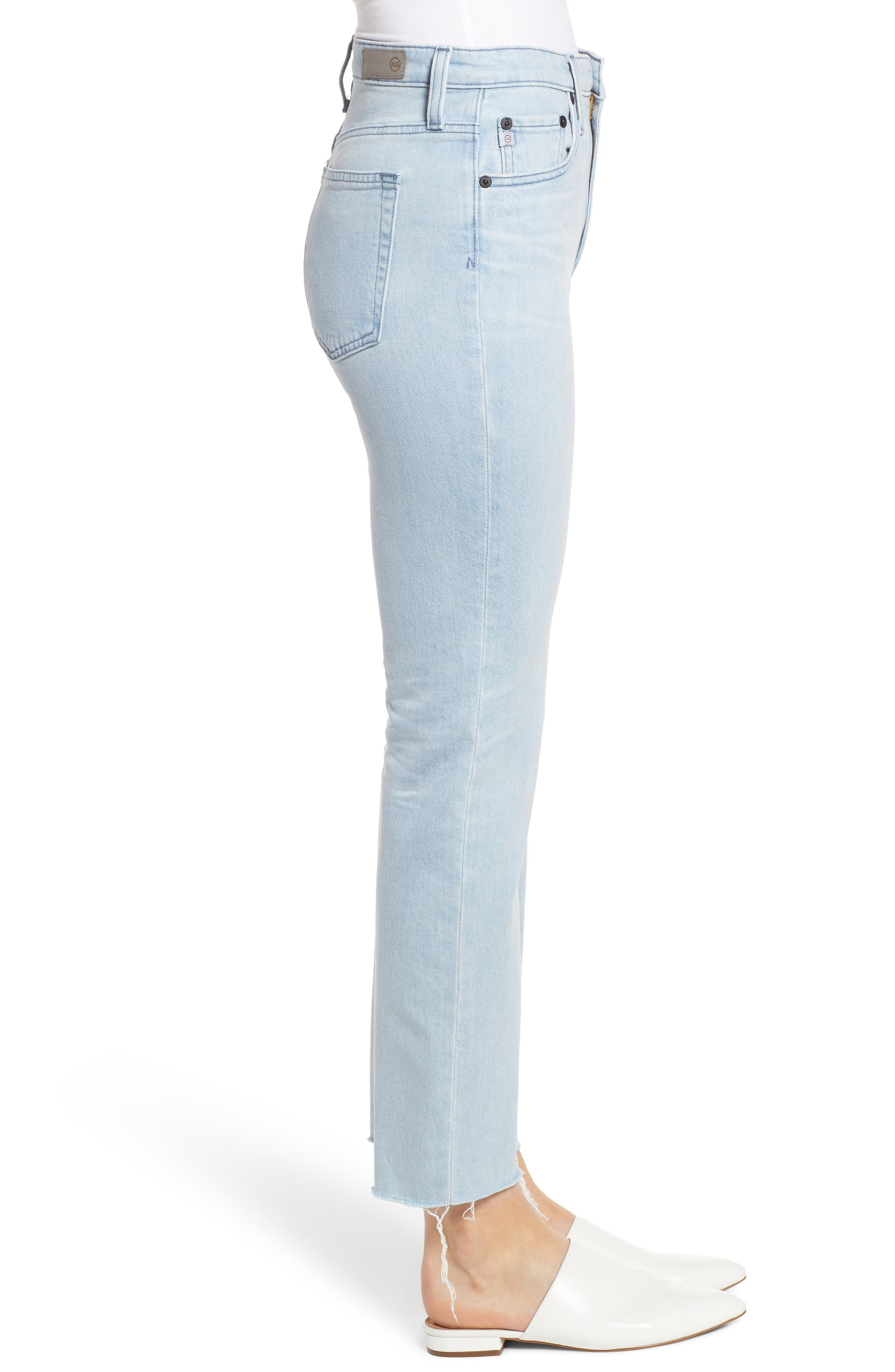 AG,                             The Isabelle High Waist Crop Straight Leg Jeans,                             Alternate thumbnail 3, color,                             26 YEARS SANGUINE