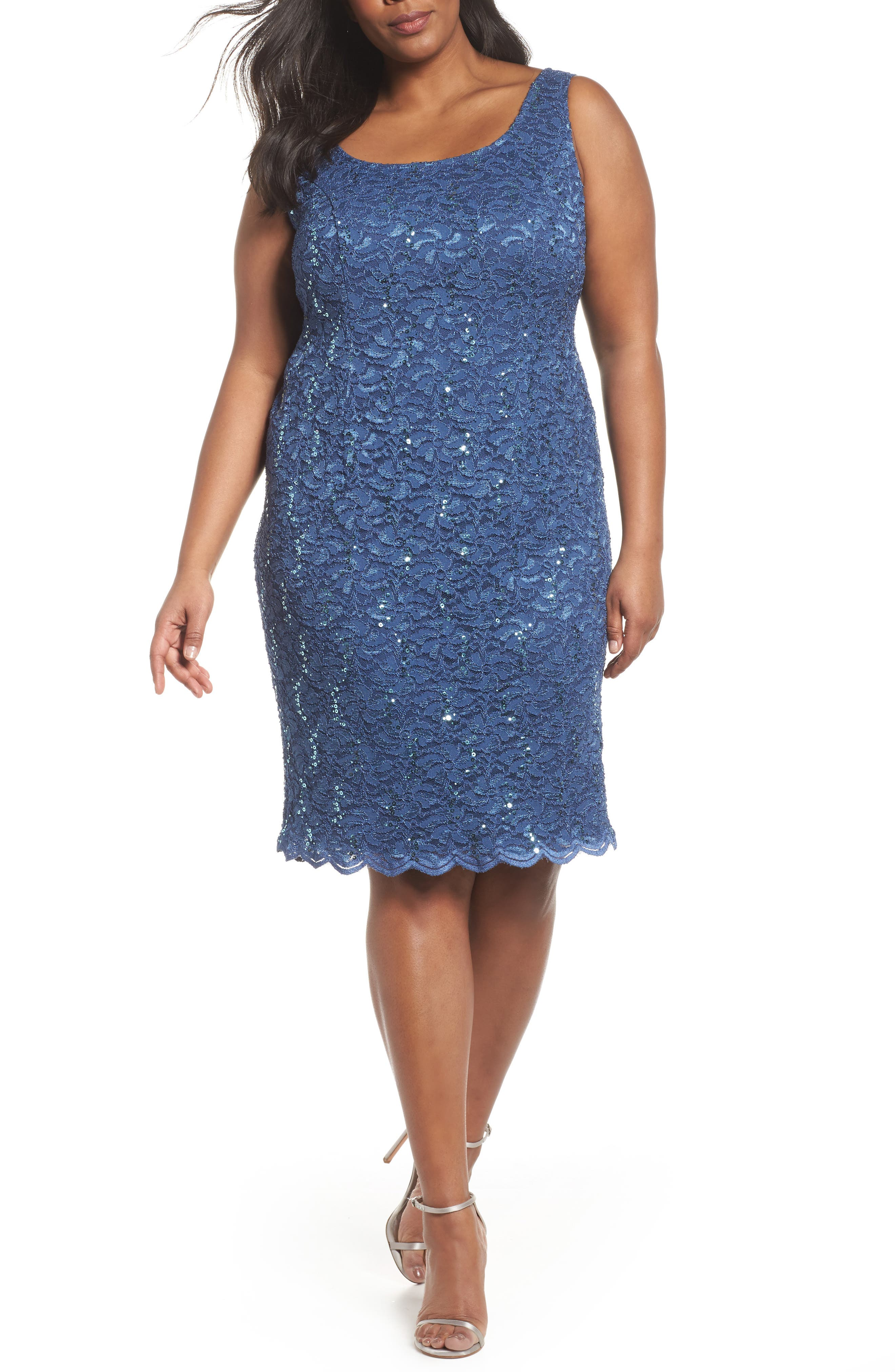 Sequin Lace Sheath Dress with Jacket,                             Alternate thumbnail 3, color,
