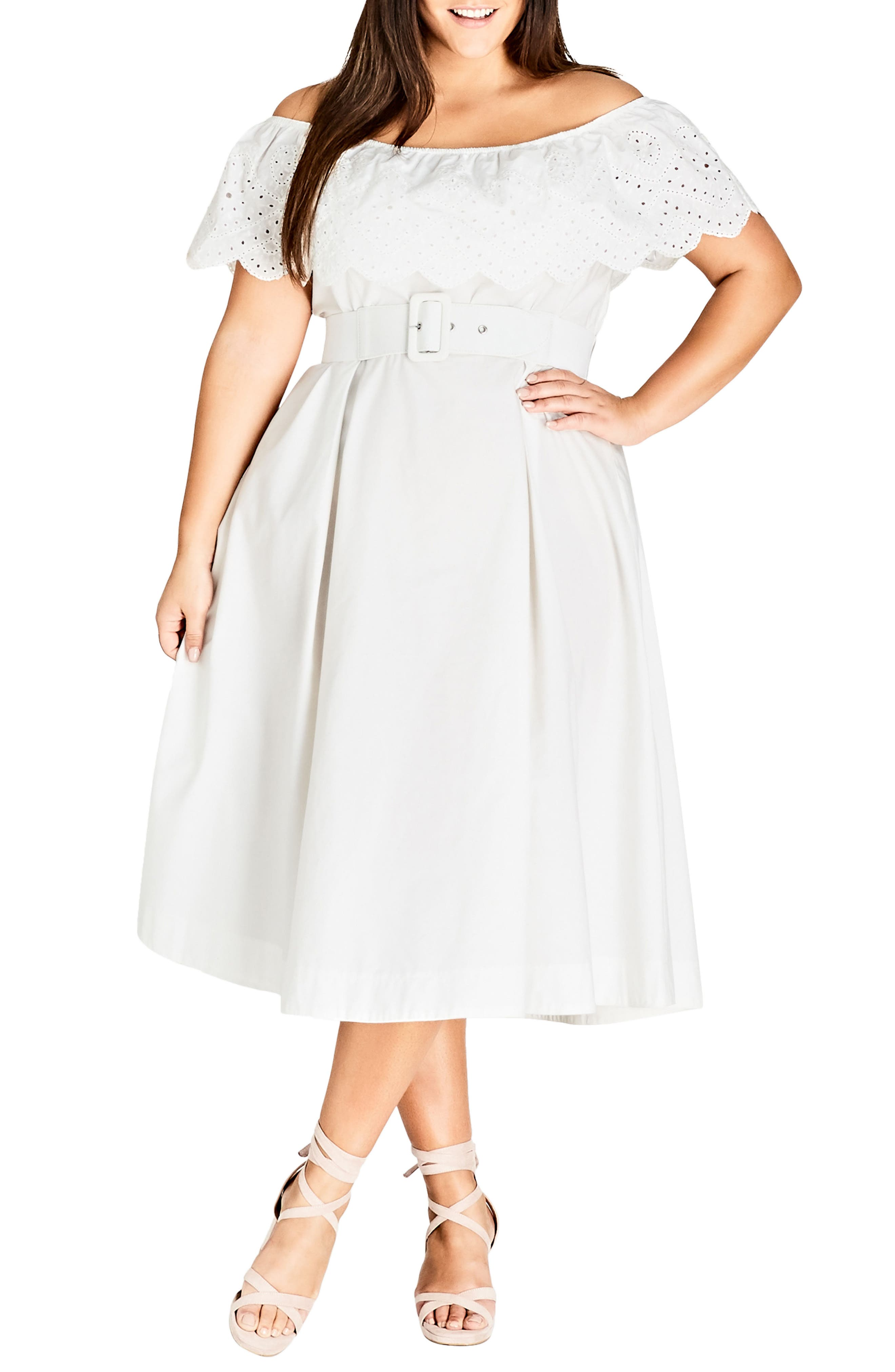 Embroidered Off the Shoulder Fit & Flare Dress,                         Main,                         color, WHITE