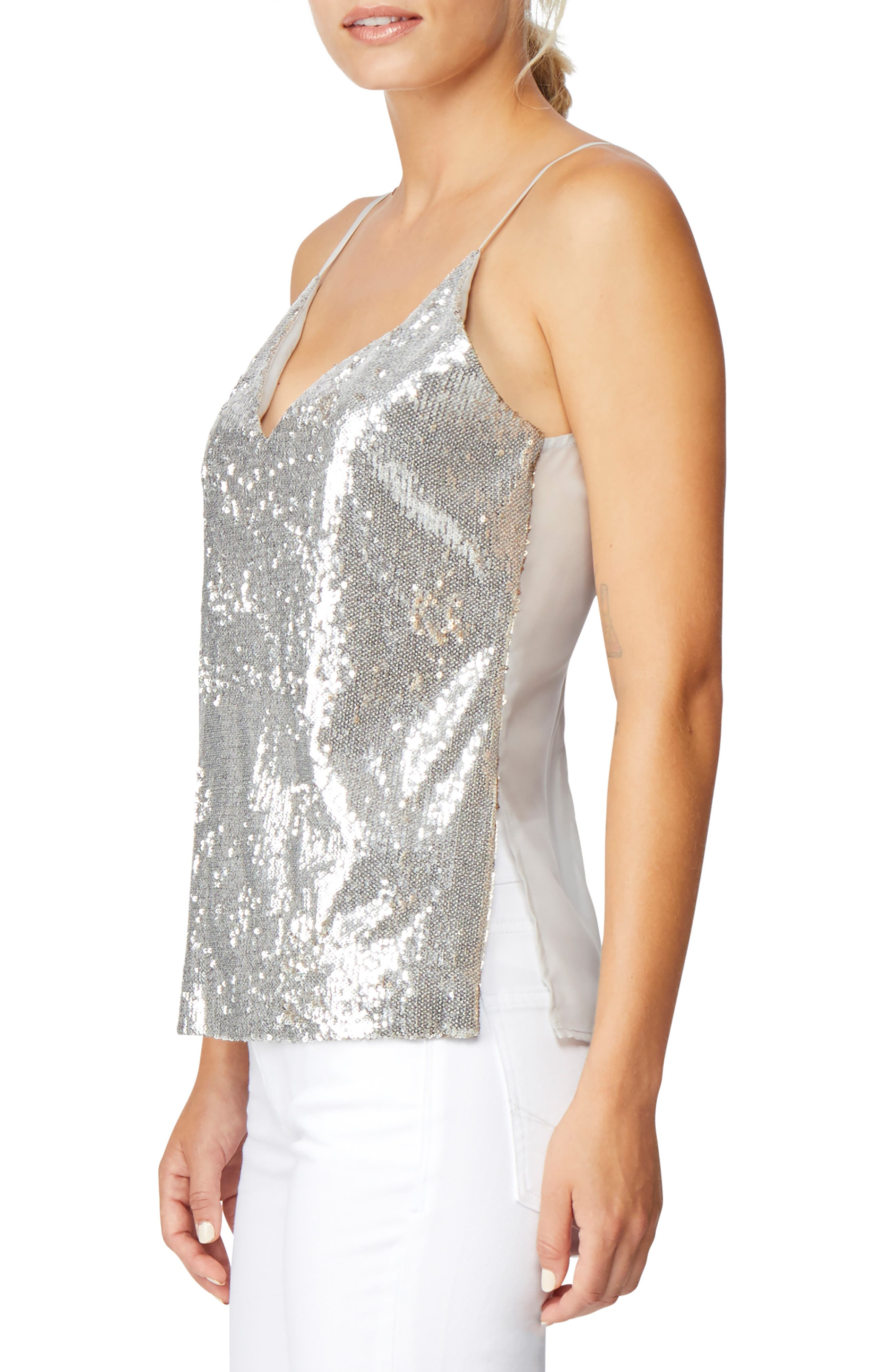 Mixed Media Reversible Sequin Camisole,                             Alternate thumbnail 3, color,                             SILVER/ GOLD