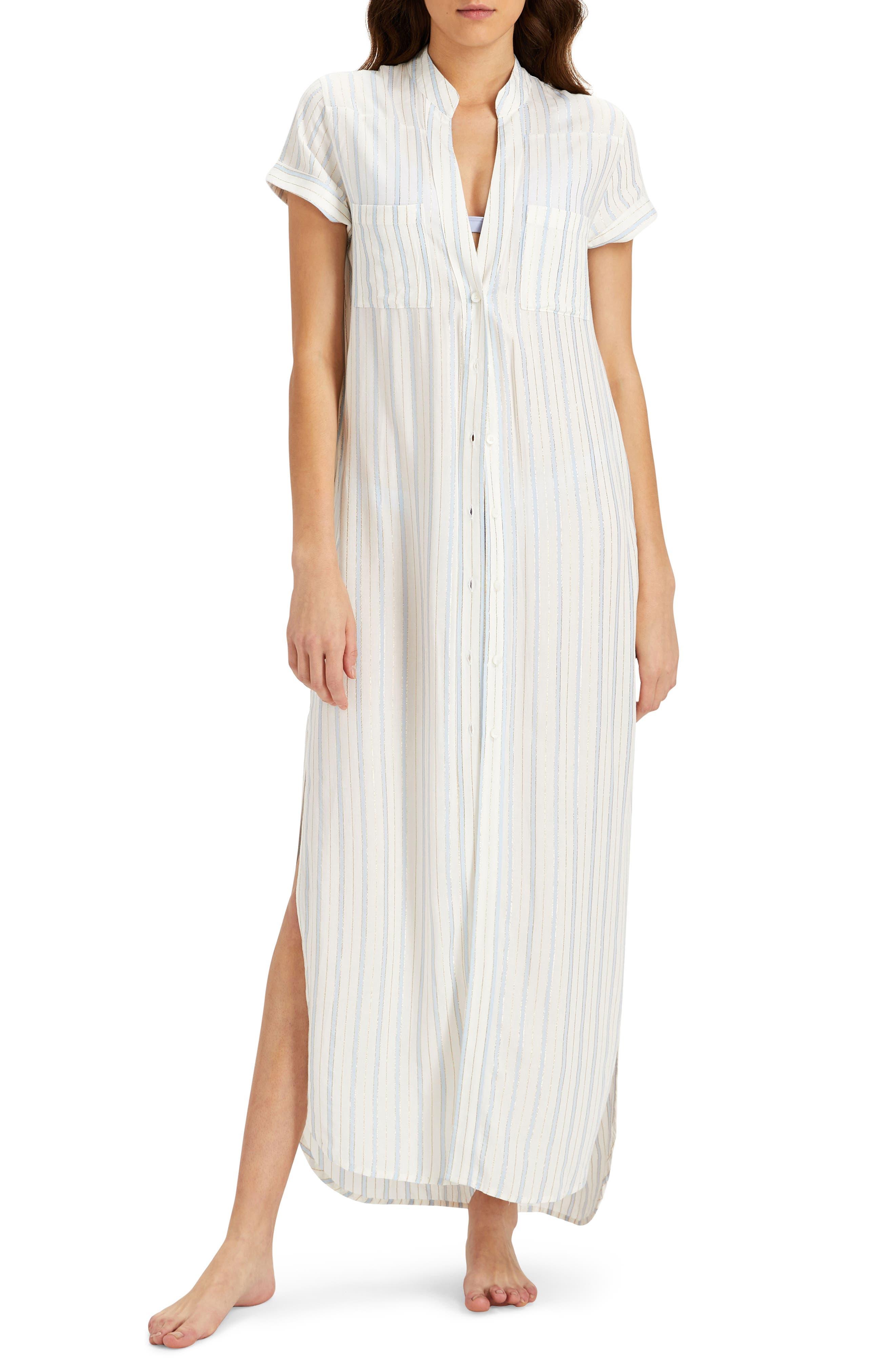 Kim Stripe Button Down Cover-Up Maxi Dress,                             Main thumbnail 1, color,                             101