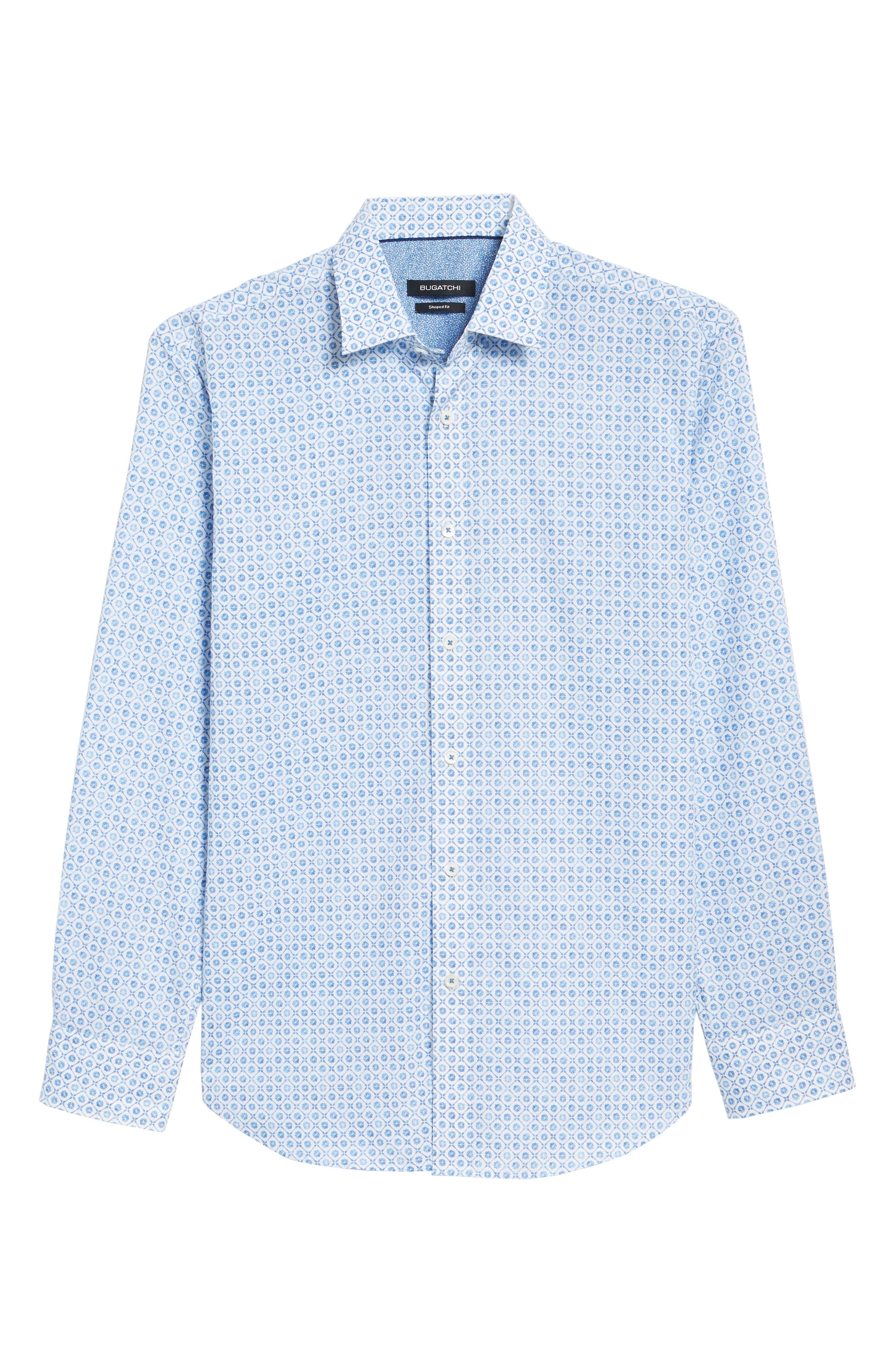 Shaped Fit Floral Medallion Print Sport Shirt,                             Alternate thumbnail 6, color,                             CLASSIC BLUE