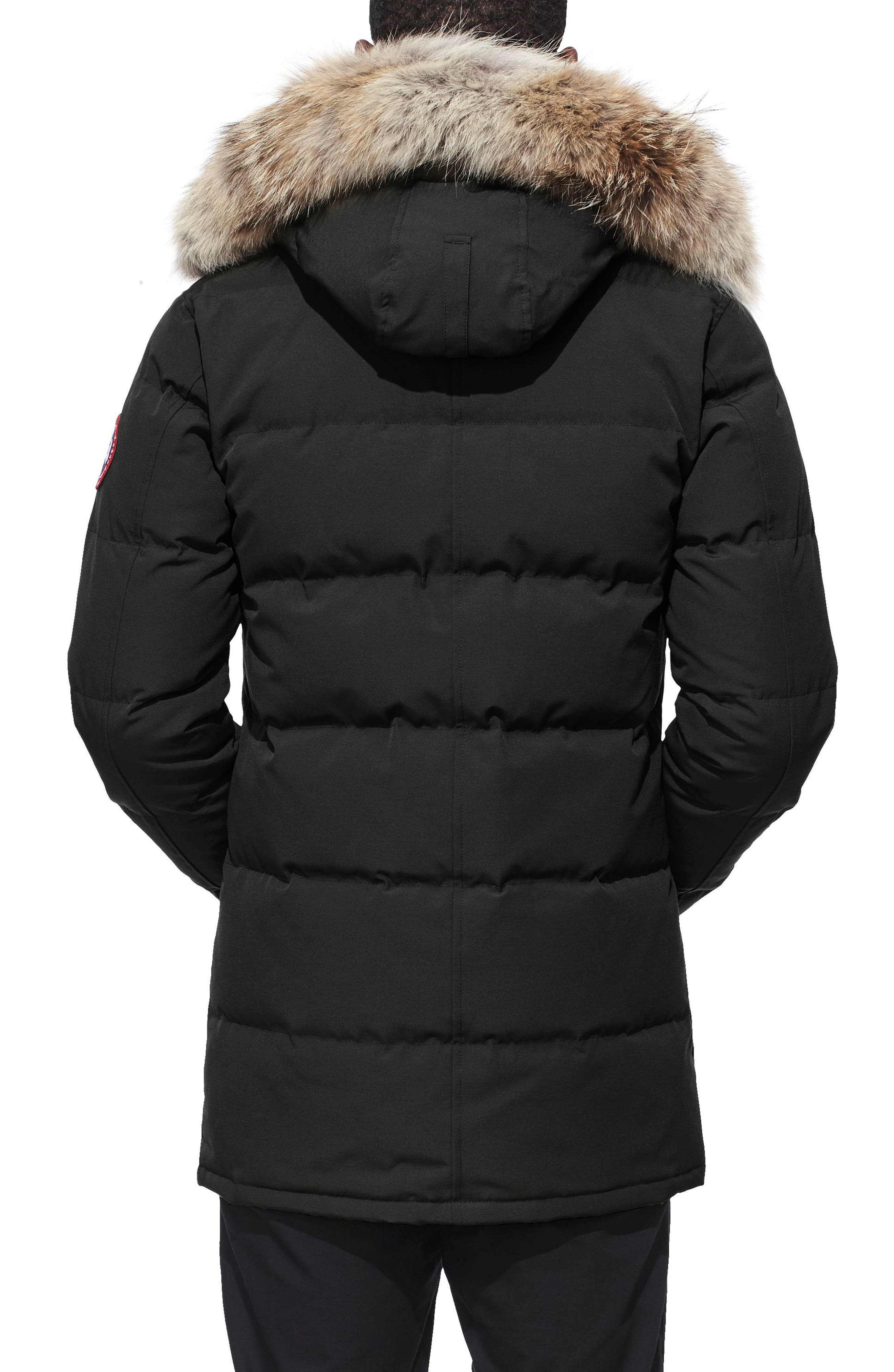 'Carson' Slim Fit Hooded Packable Parka with Genuine Coyote Fur Trim,                             Alternate thumbnail 2, color,                             BLACK