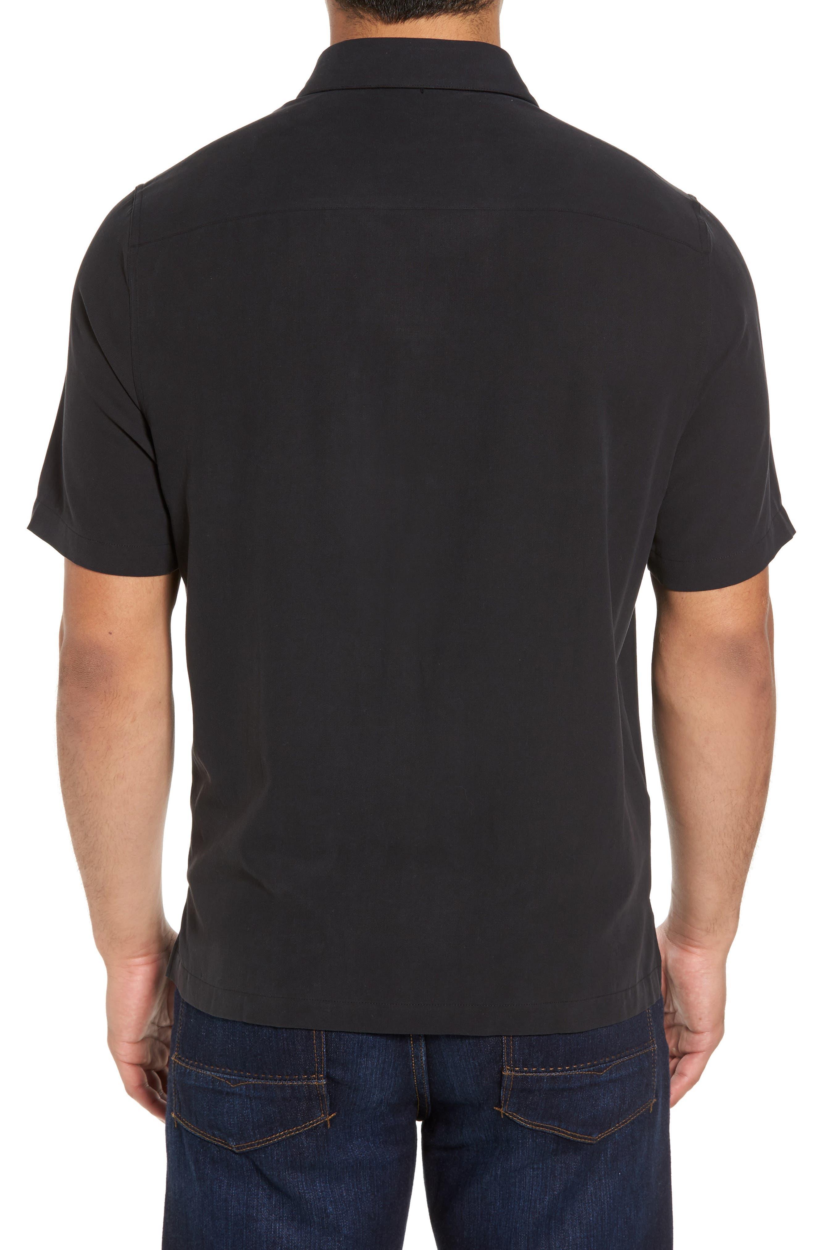 Black Diamond Regular Fit Embroidered Silk Blend Sport Shirt,                             Alternate thumbnail 2, color,                             001
