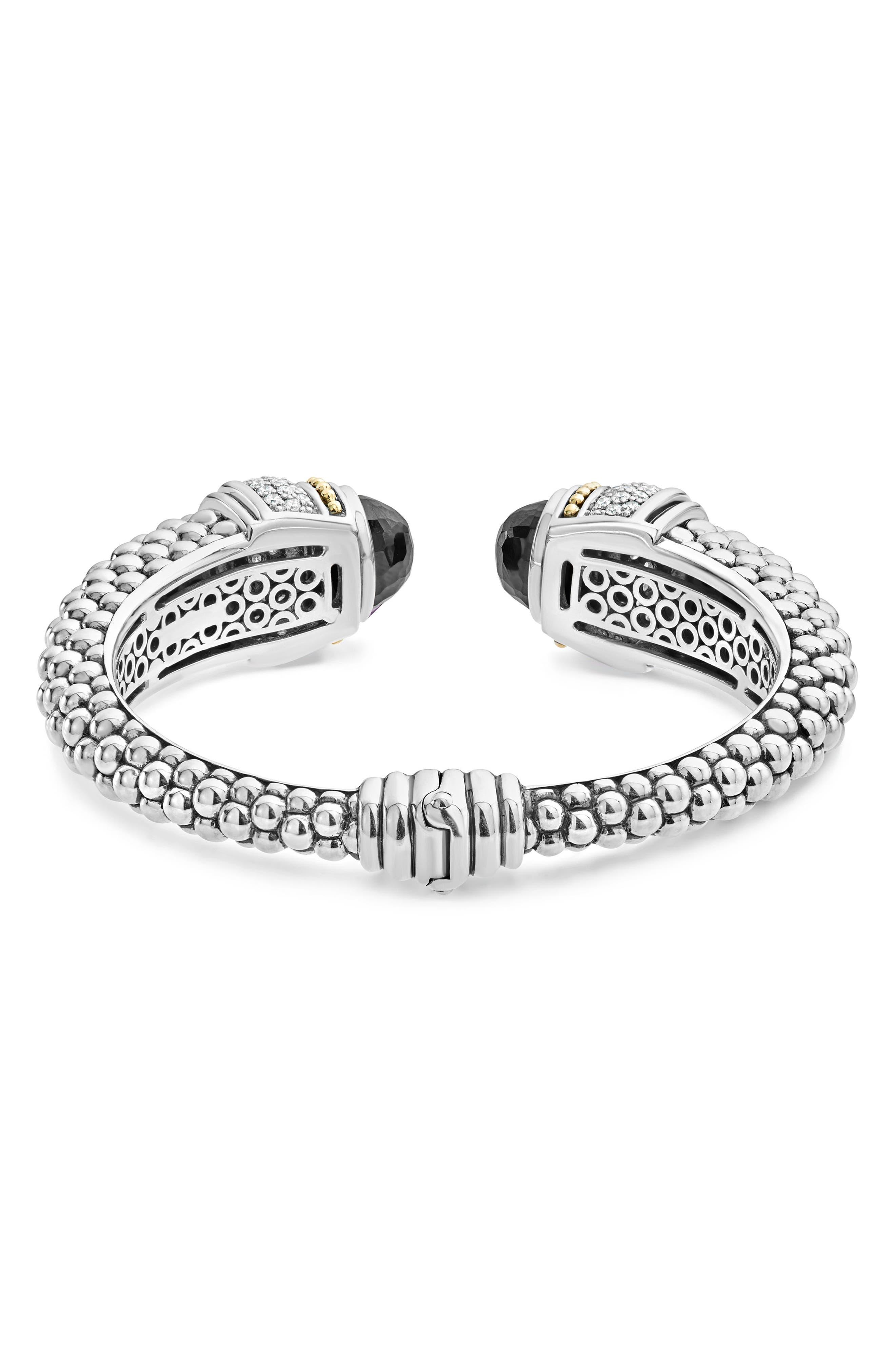Caviar Diamond & Semiprecious Stone Wrist Cuff,                             Alternate thumbnail 3, color,                             BLACK SPINEL
