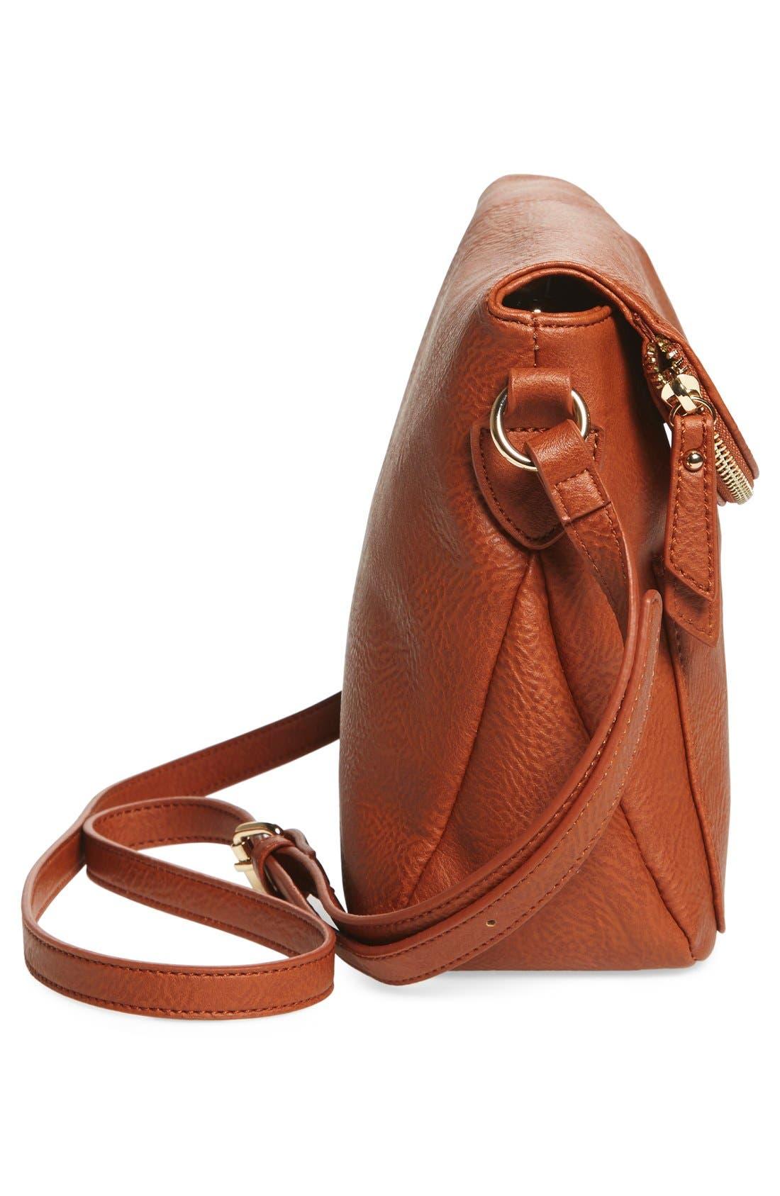 Zip Flap Faux Leather Crossbody Bag,                             Alternate thumbnail 10, color,