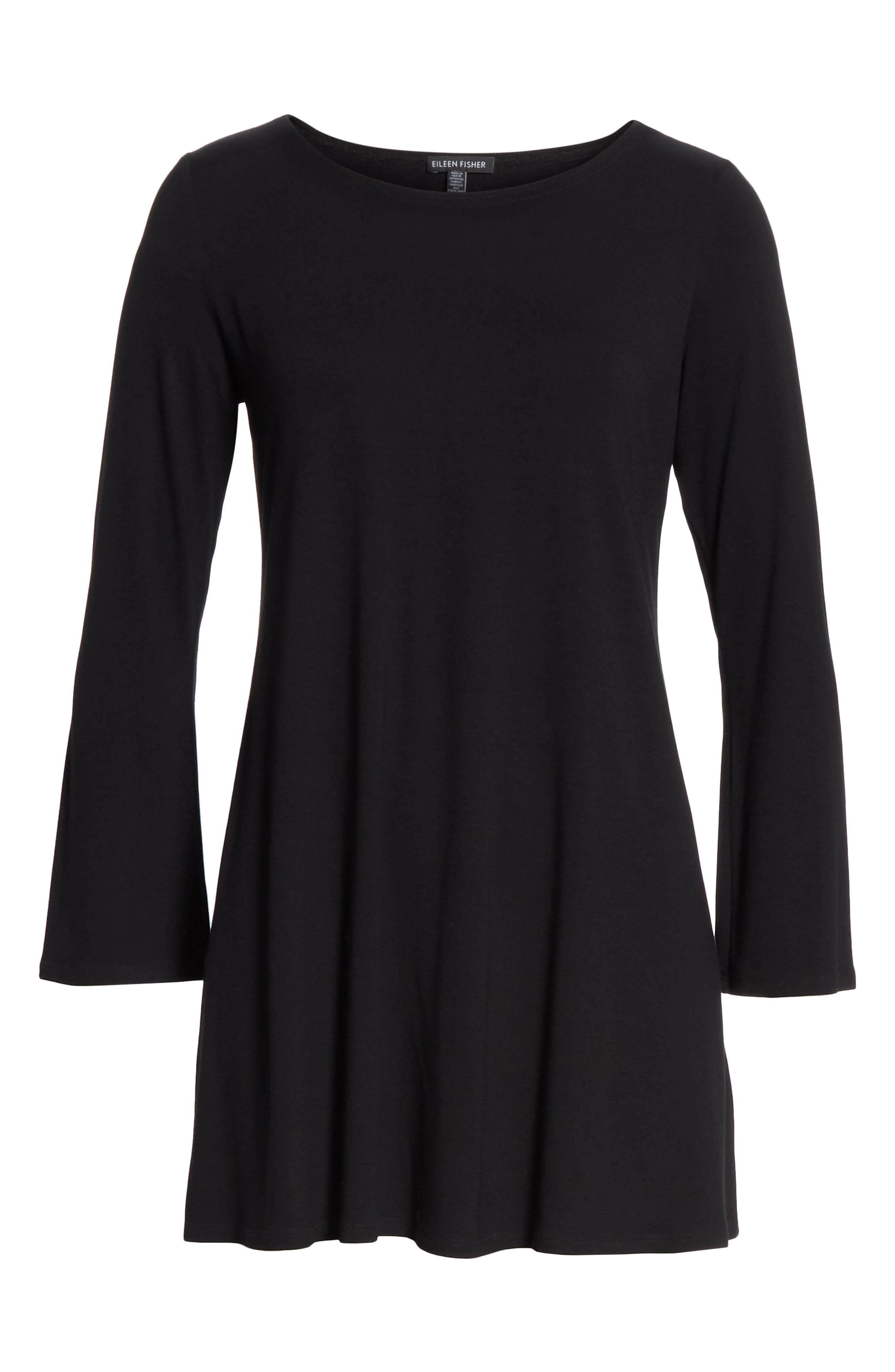 EILEEN FISHER, Jewel Neck Tunic Top, Alternate thumbnail 6, color, 001