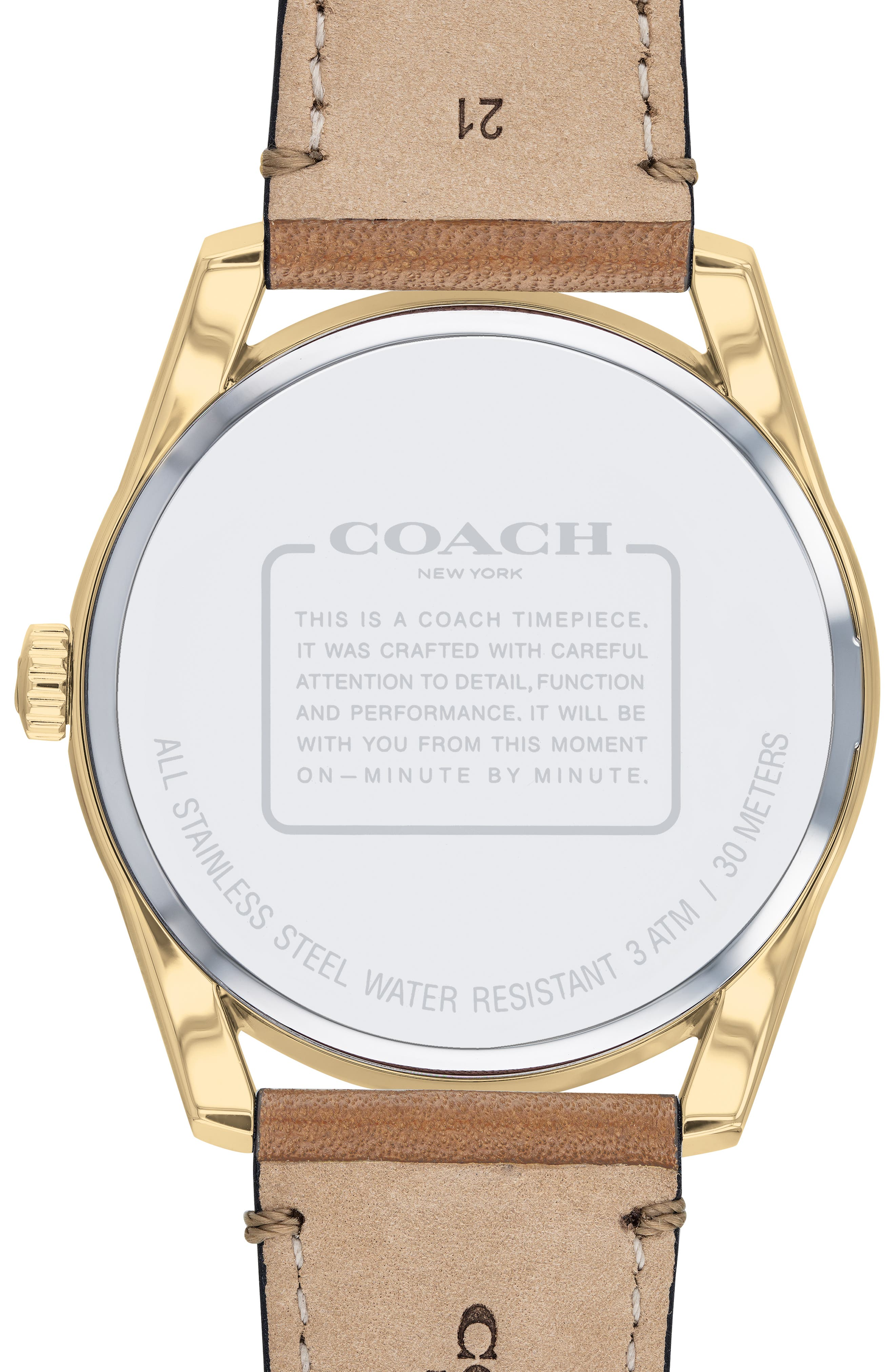 Preston Leather Strap Watch, 41mm,                             Alternate thumbnail 2, color,                             CAMEL/ GOLD/ SILVER