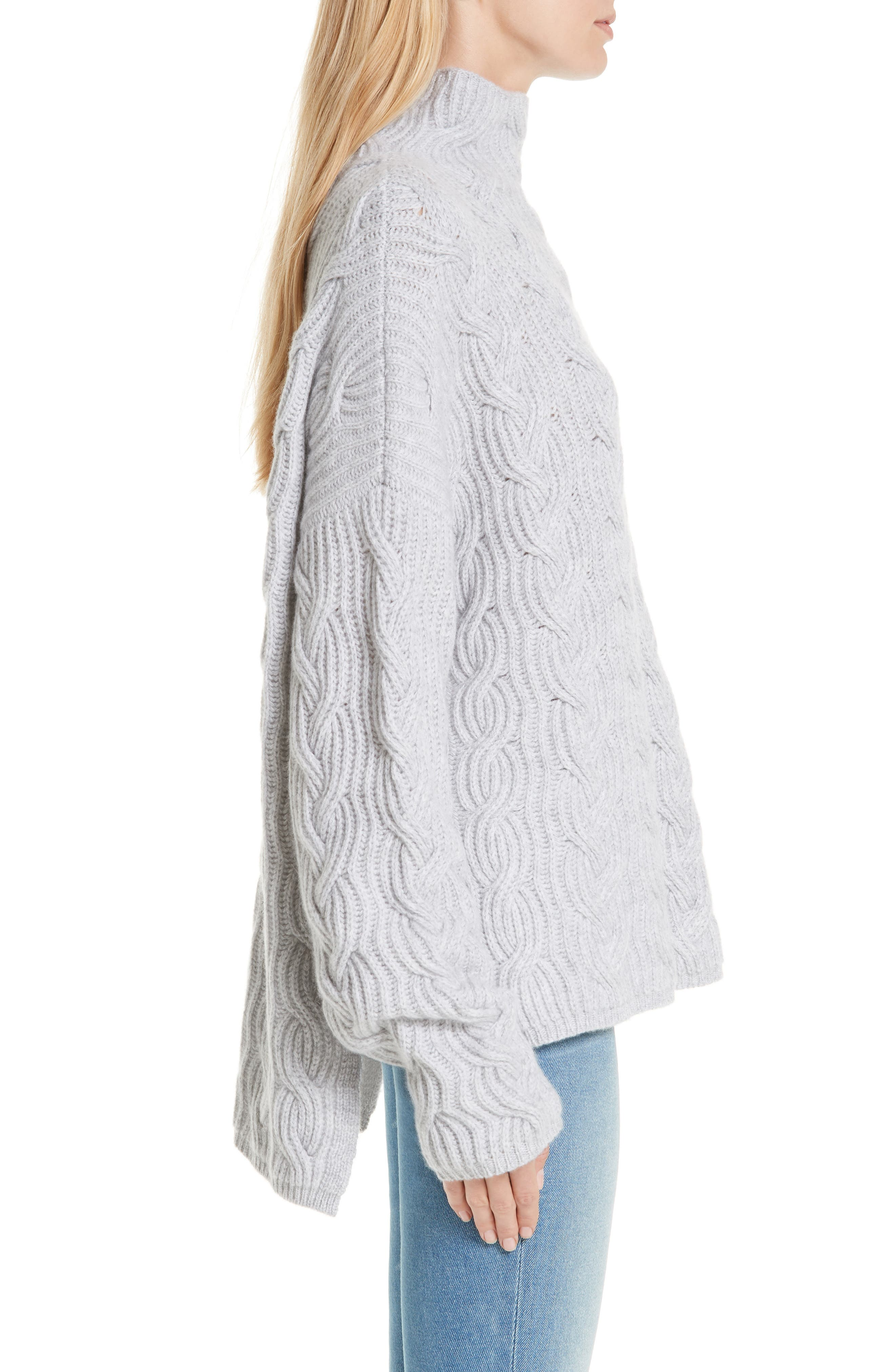 Cable Cashmere Knit Sweater,                             Alternate thumbnail 3, color,                             050