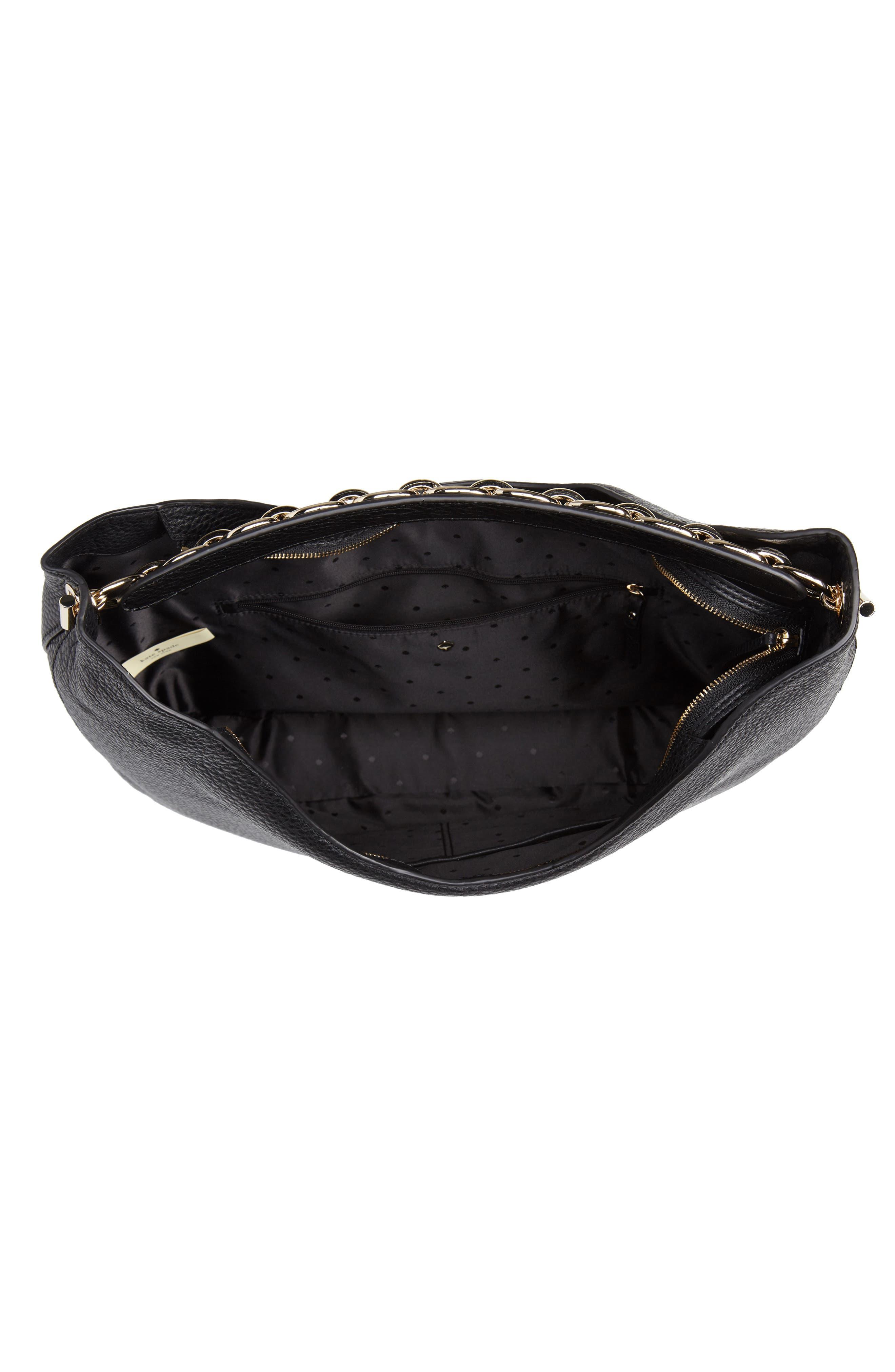 murray street heather pebbled leather hobo bag,                             Alternate thumbnail 4, color,                             BLACK