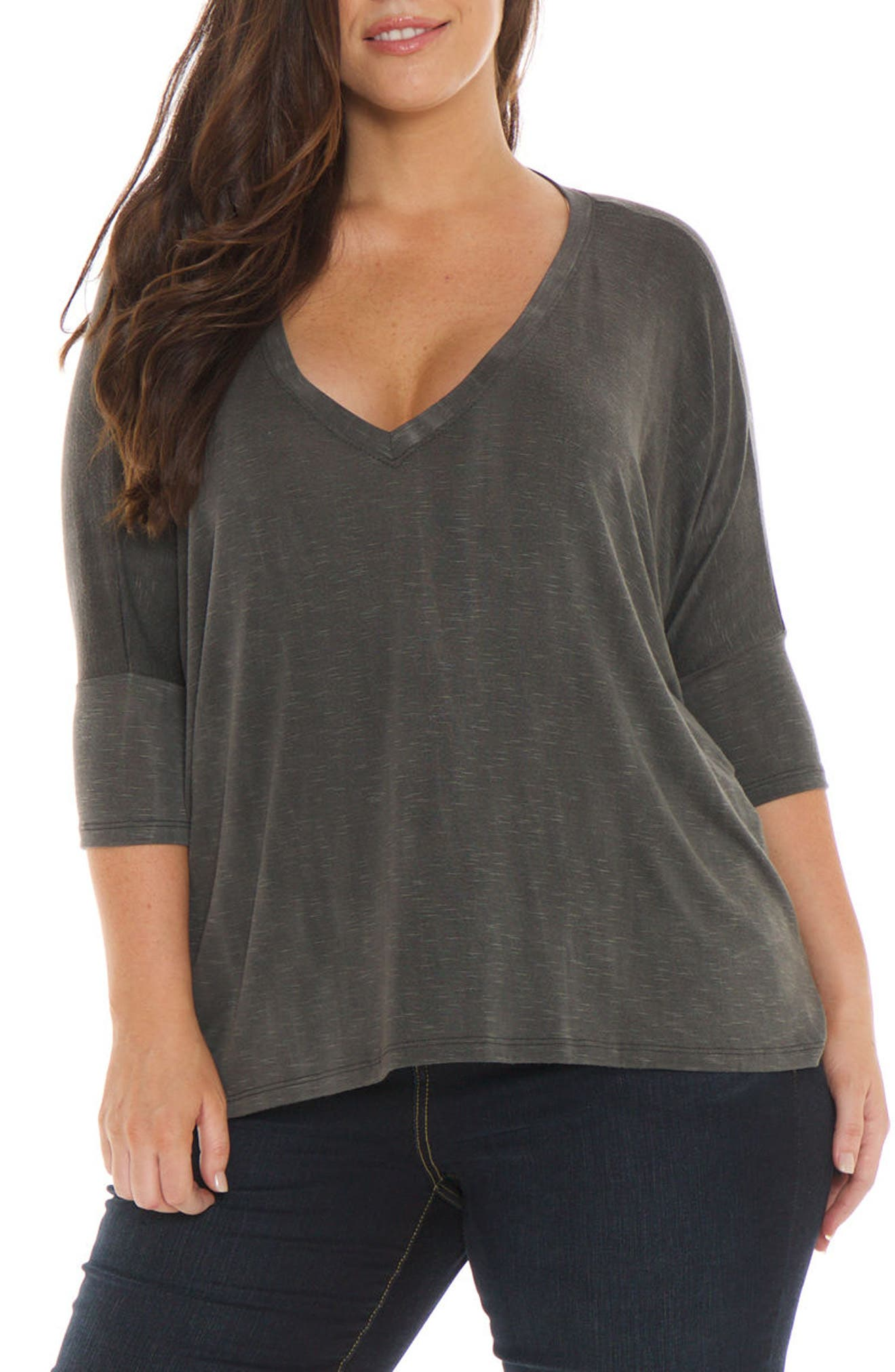 Oversized V-Neck Top,                             Main thumbnail 1, color,                             001