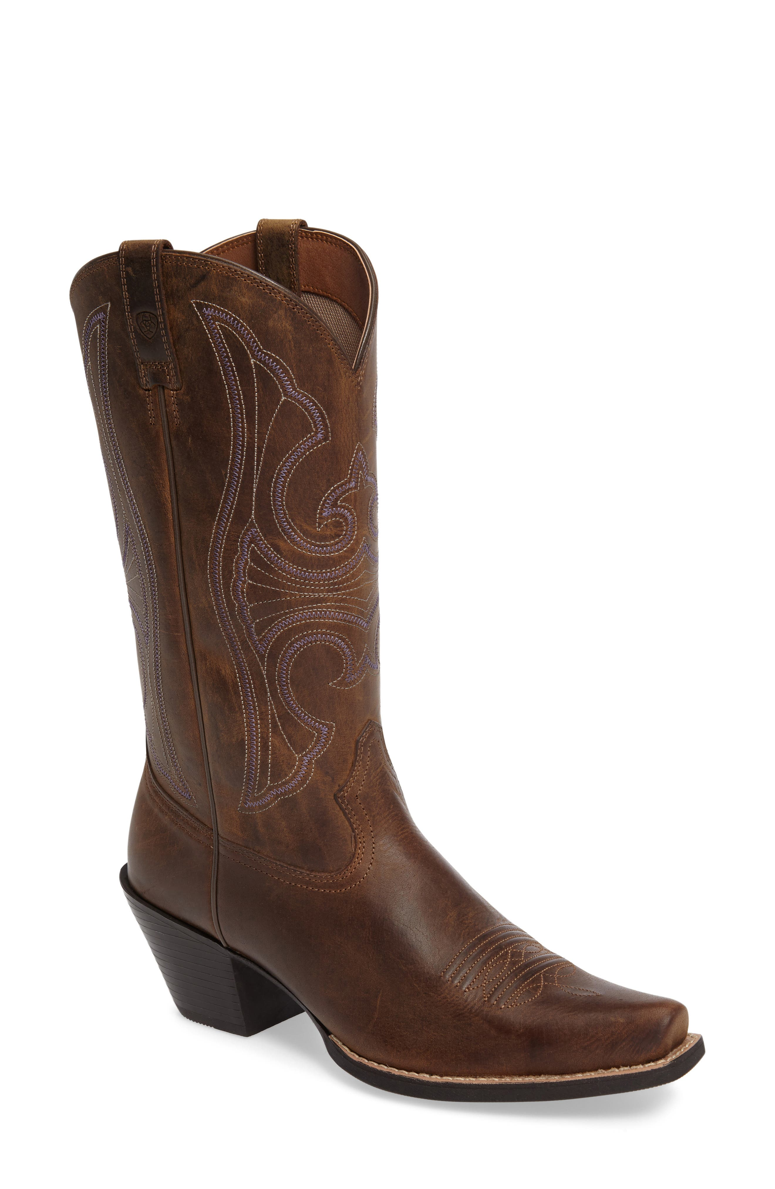 Round Up D-Toe Western Boot,                             Main thumbnail 1, color,                             DISTRESSED BROWN LEATHER