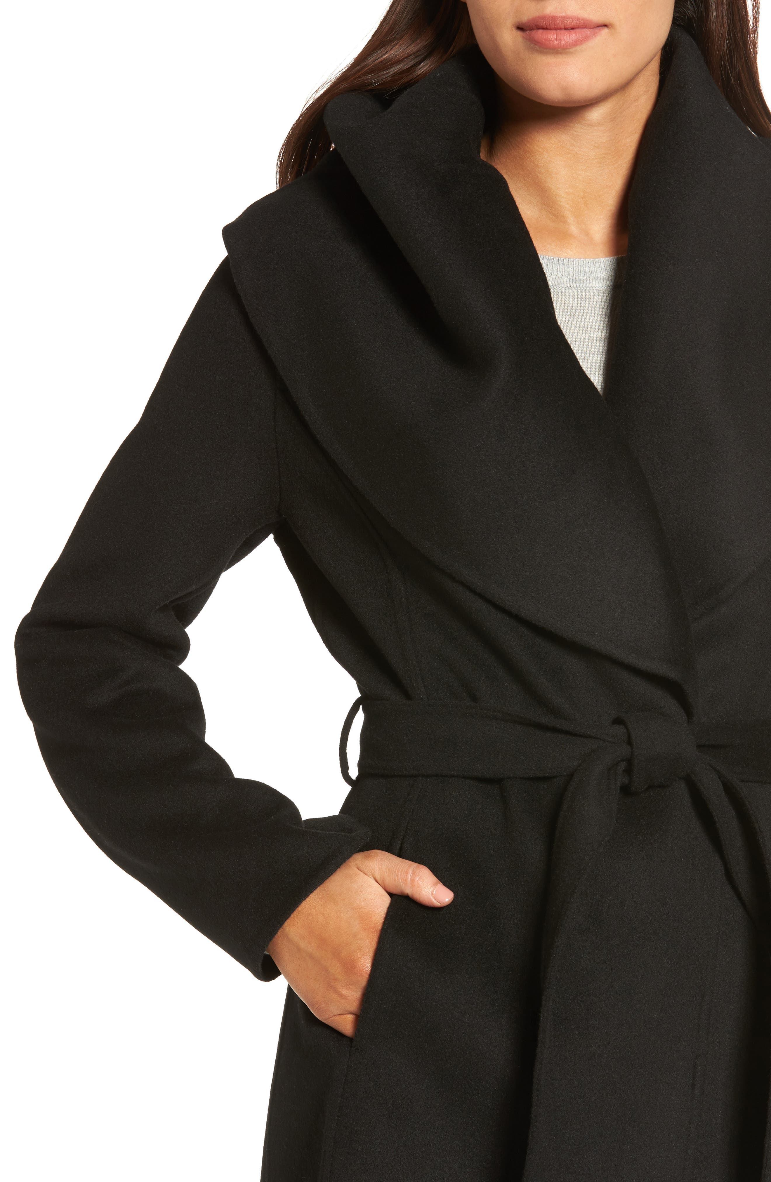 Marla Double Face Wool Blend Wrap Coat,                             Alternate thumbnail 4, color,                             001