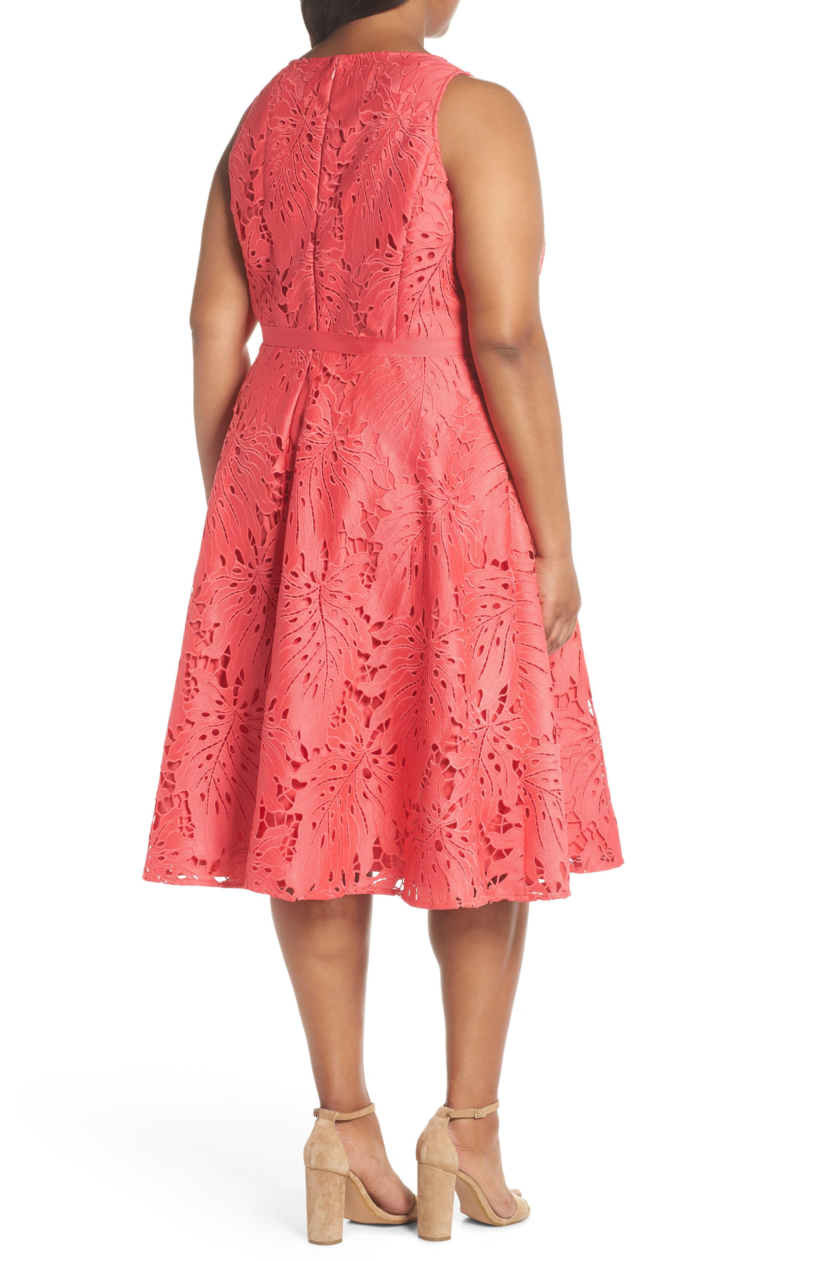 Palm Leaf Chemical Lace A-Line Dress,                             Alternate thumbnail 2, color,                             659