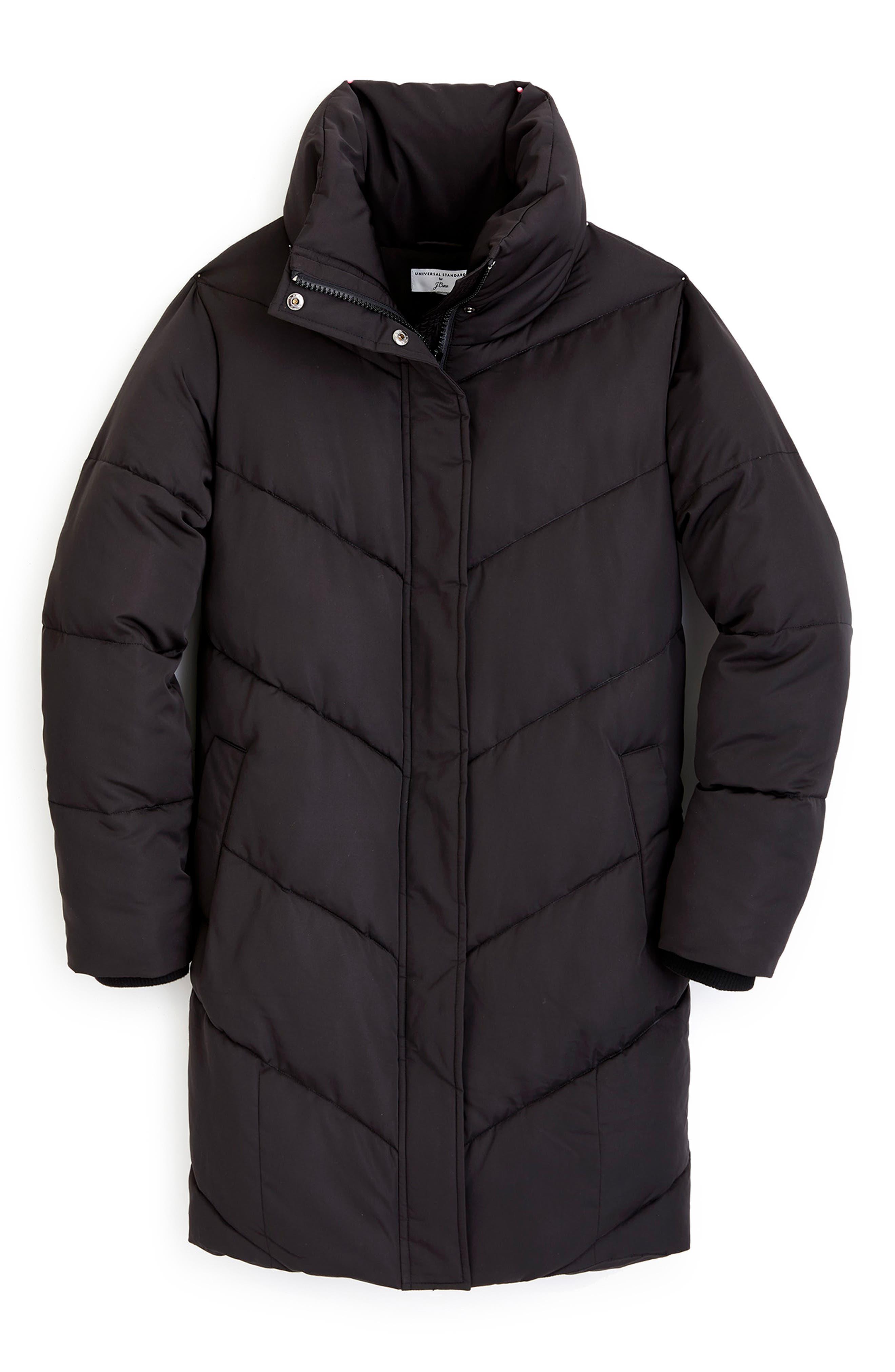 for J.Crew Chevron Long Puffer Coat,                             Alternate thumbnail 6, color,                             BLACK