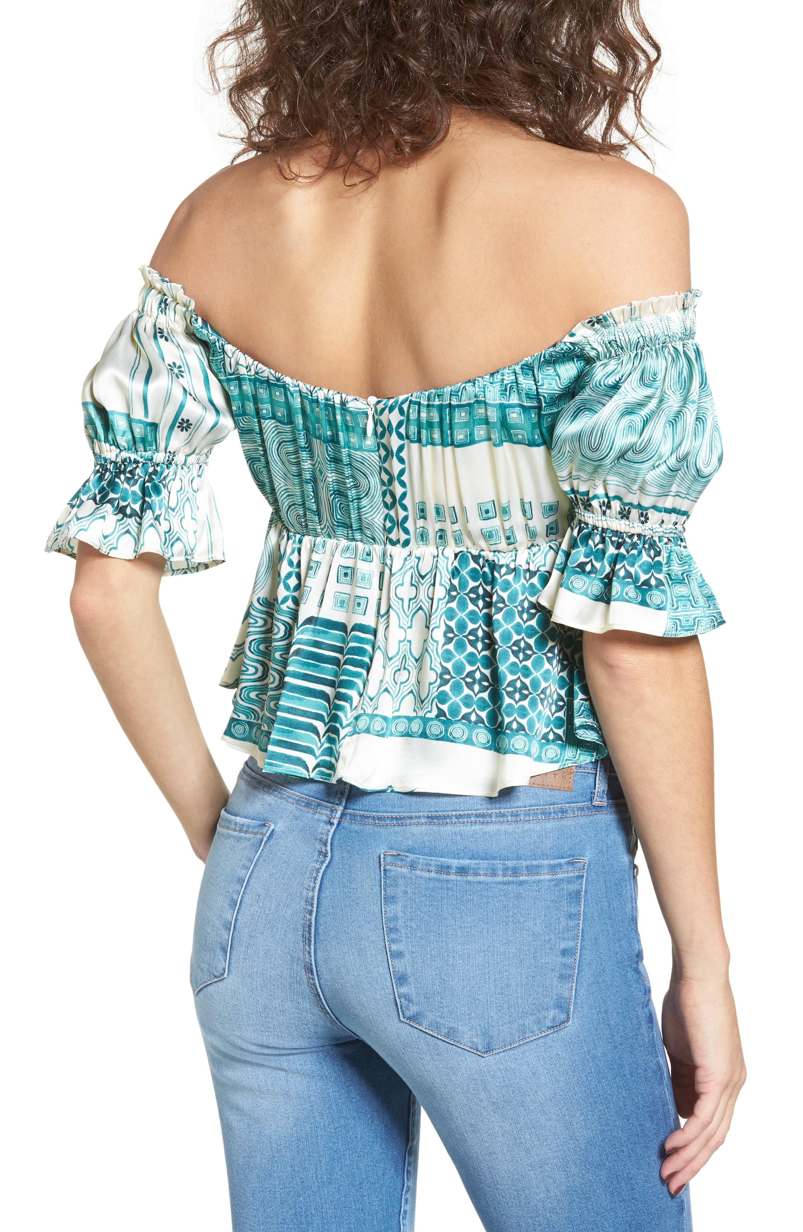 Monte Off the Shoulder Silk Top,                             Alternate thumbnail 4, color,