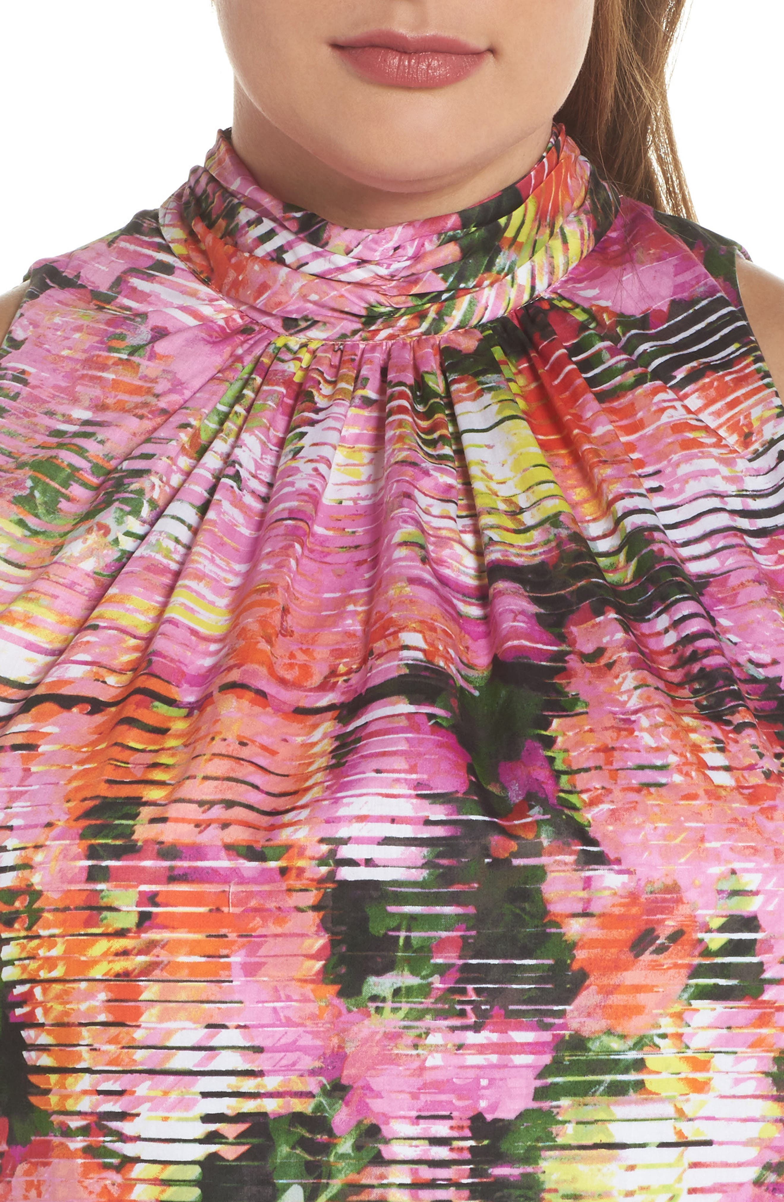 Back Bow Halter Dress,                             Alternate thumbnail 4, color,                             SOFT WHITE/ PINKS