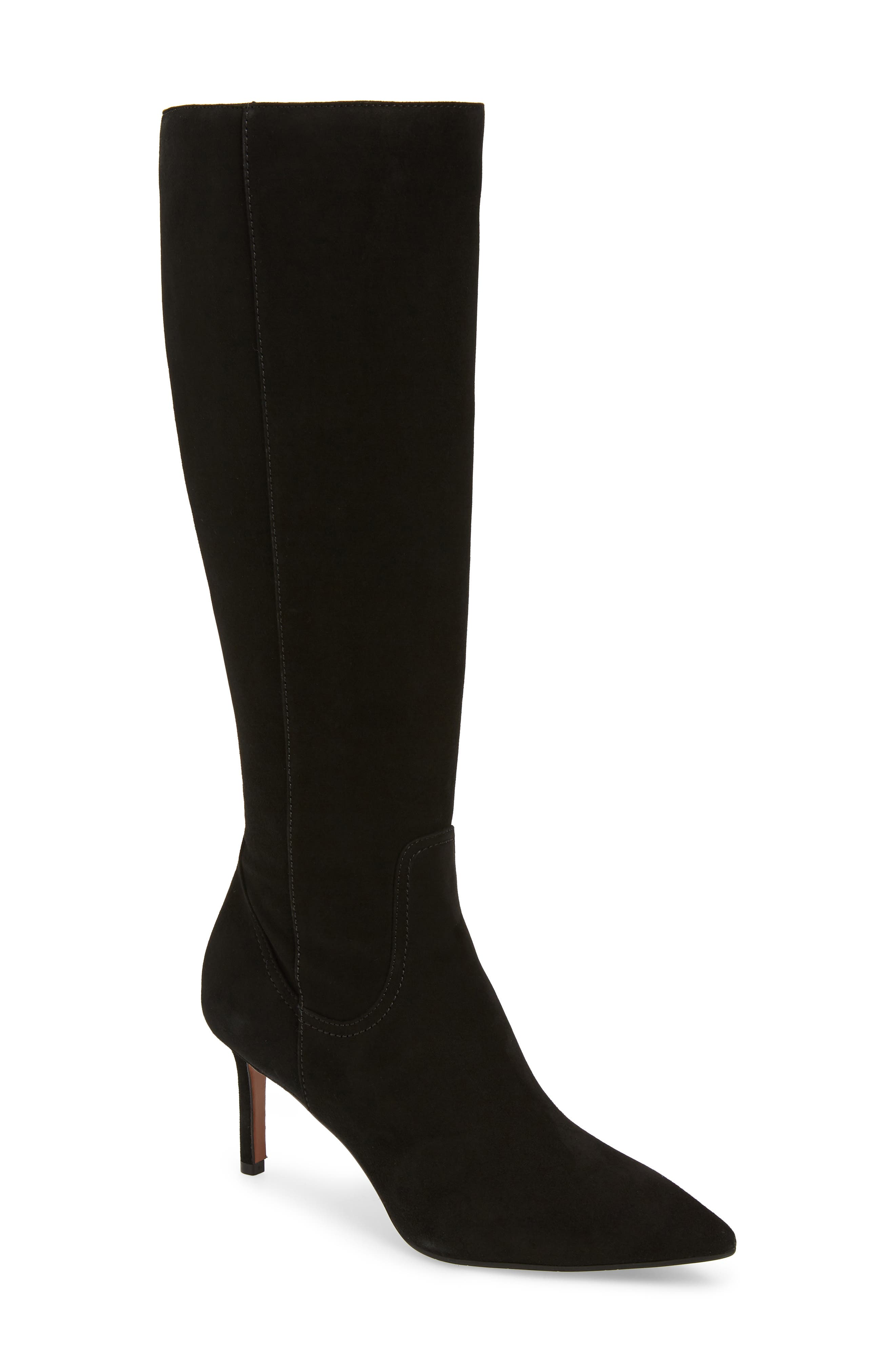 AQUATALIA Madison Suede Knee-High Boots in Black Suede