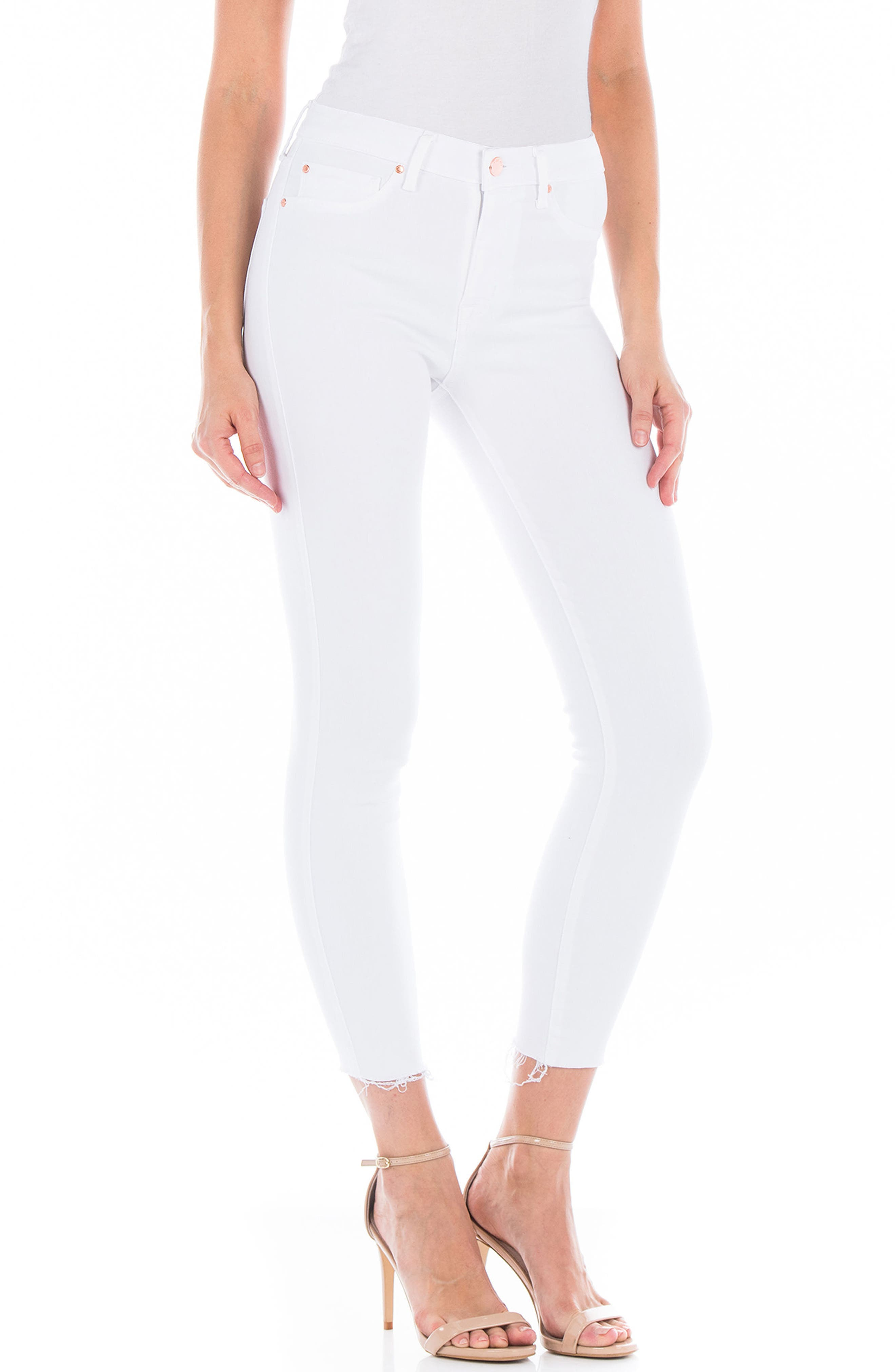 Gwen Raw Hem Crop Skinny Jeans,                             Alternate thumbnail 3, color,                             100