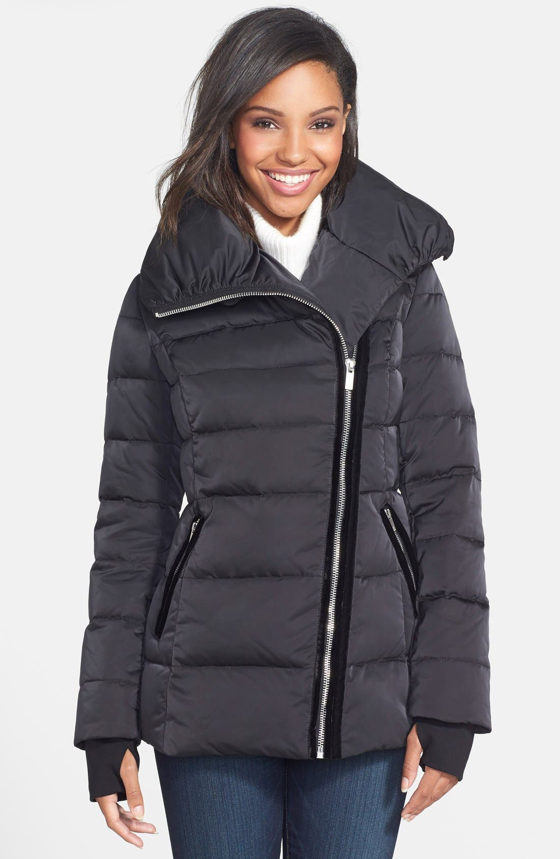 VERA WANG,                             Pillow Collar Asymmetrical Down Coat,                             Main thumbnail 1, color,                             001