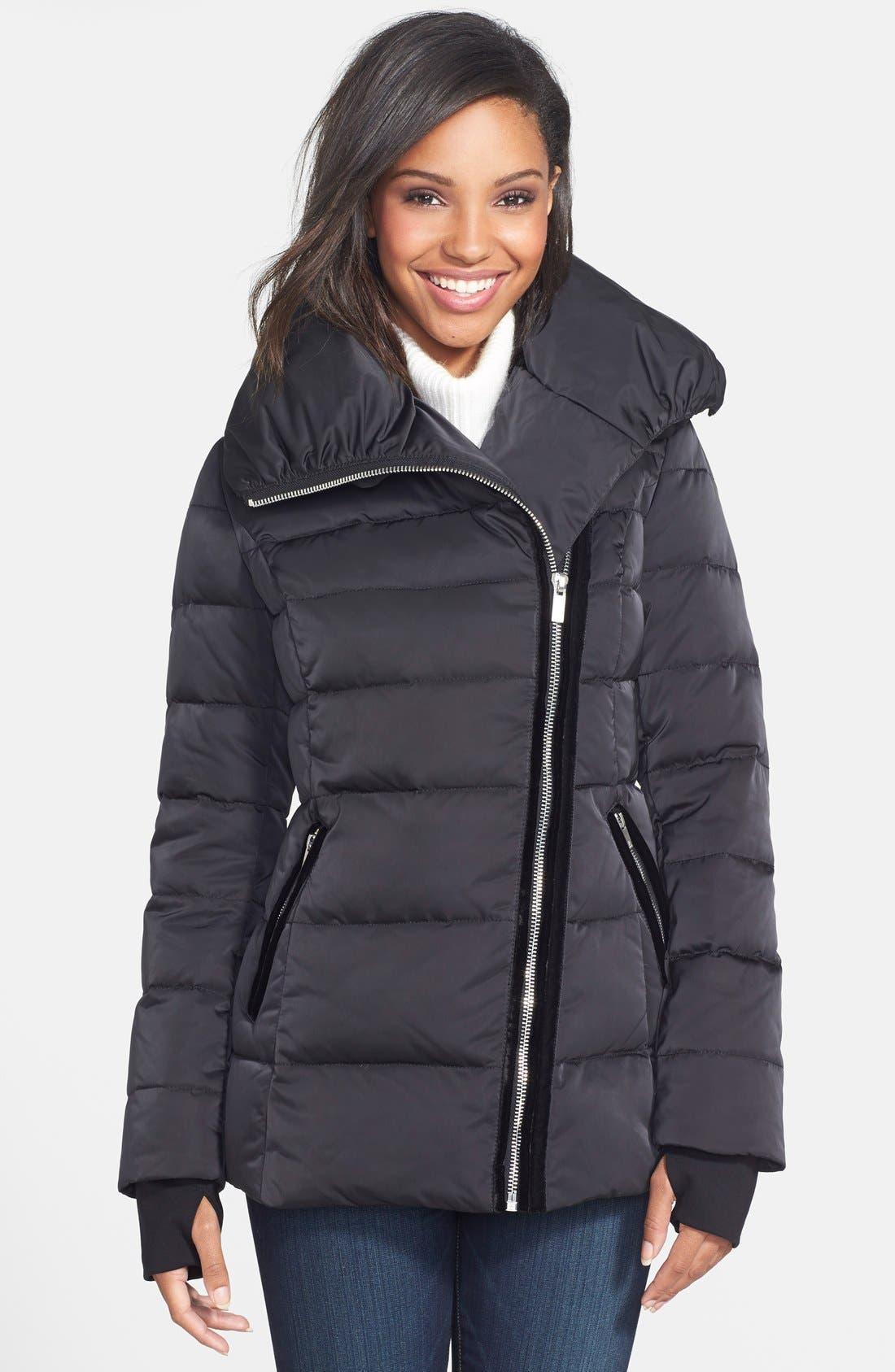 VERA WANG Pillow Collar Asymmetrical Down Coat, Main, color, 001
