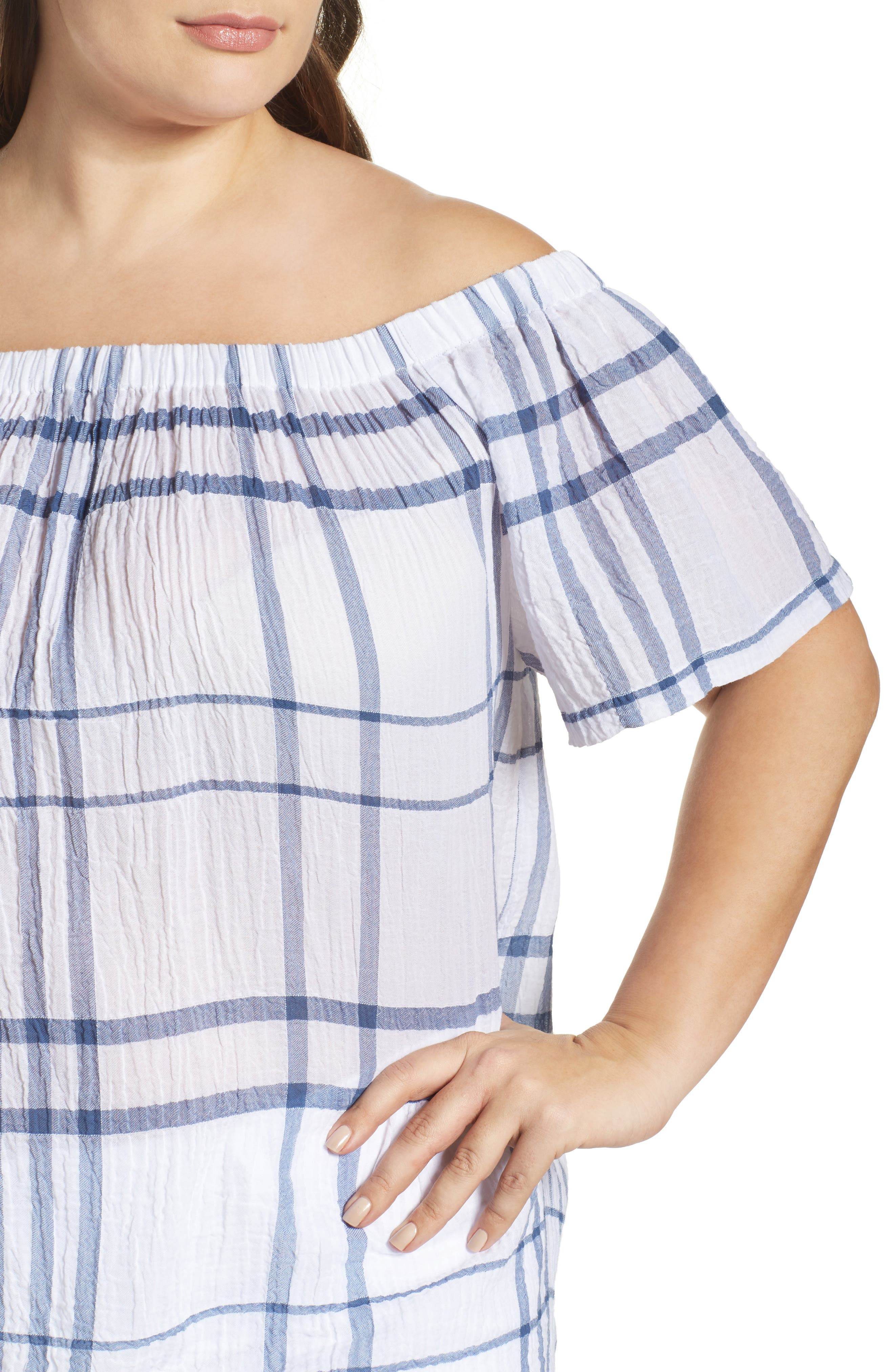 Vince Camuto Timeless Plaid Off the Shoulder Blouse,                             Alternate thumbnail 4, color,                             400
