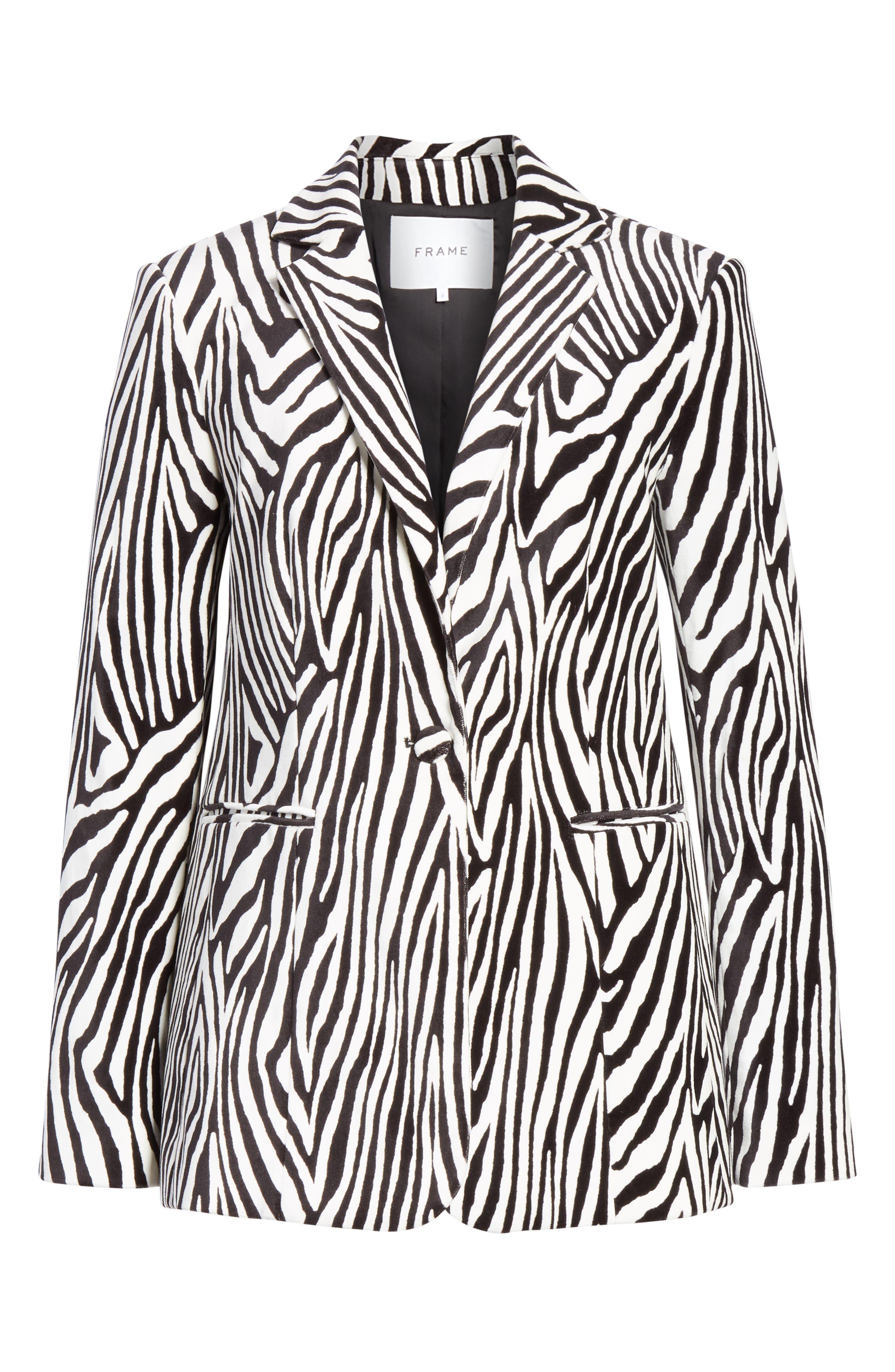 Zebra Print Blazer,                             Alternate thumbnail 5, color,                             NOIR MULTI