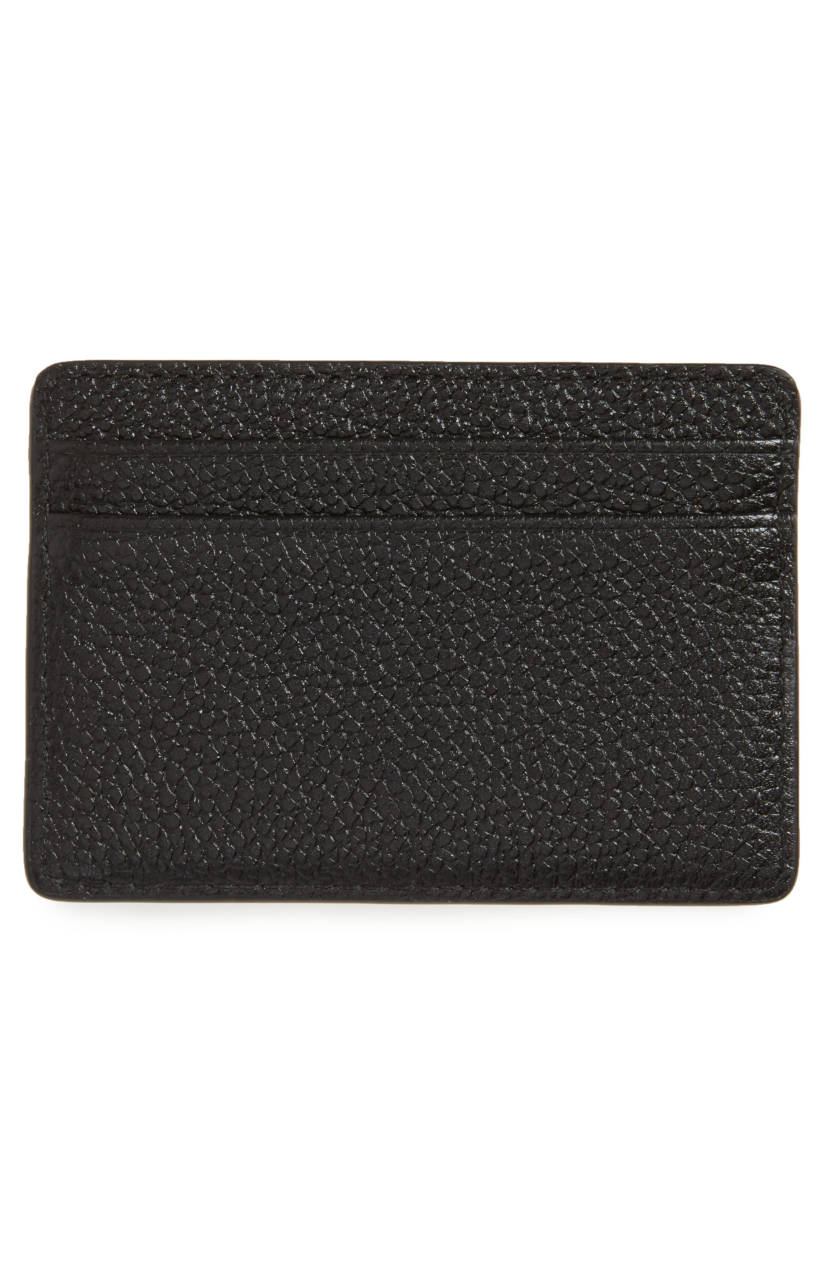 Money Pieces Leather Card Case,                             Alternate thumbnail 2, color,                             001
