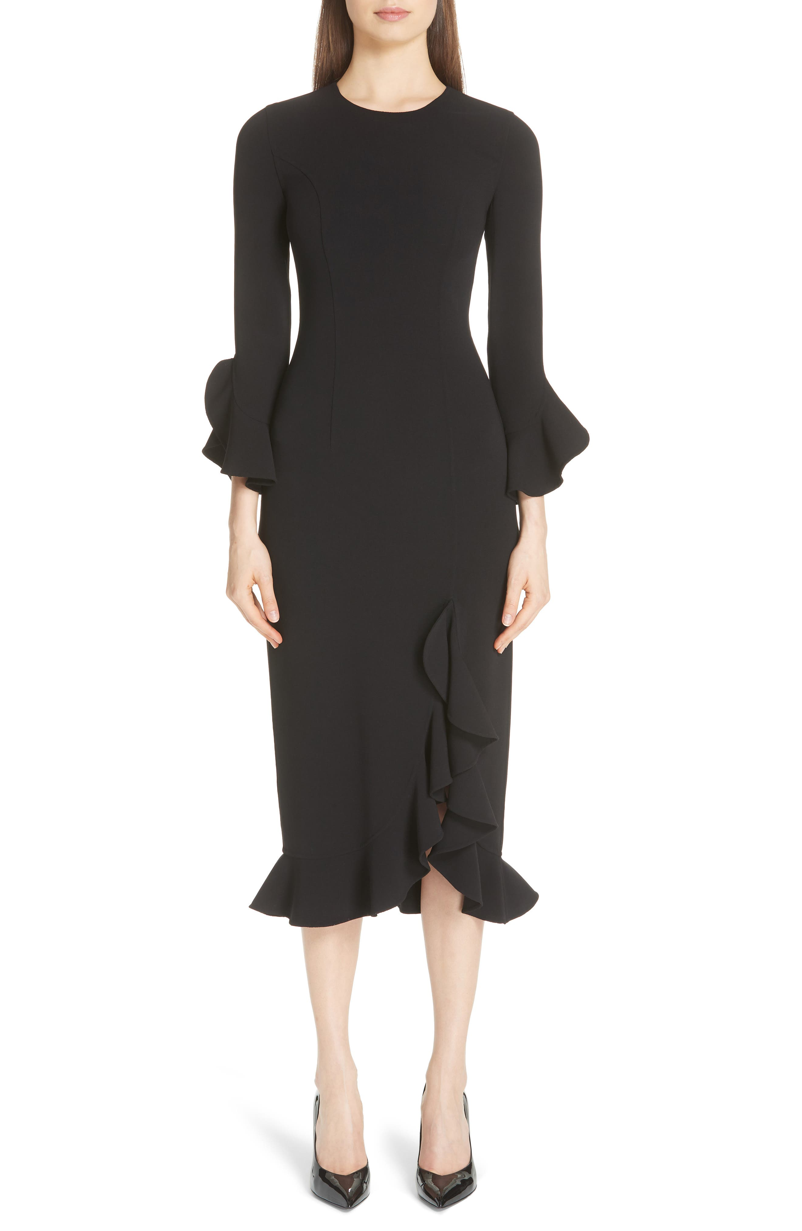 Michael Kors Rumba Ruffle Trim Stretch Wool Dress, Black