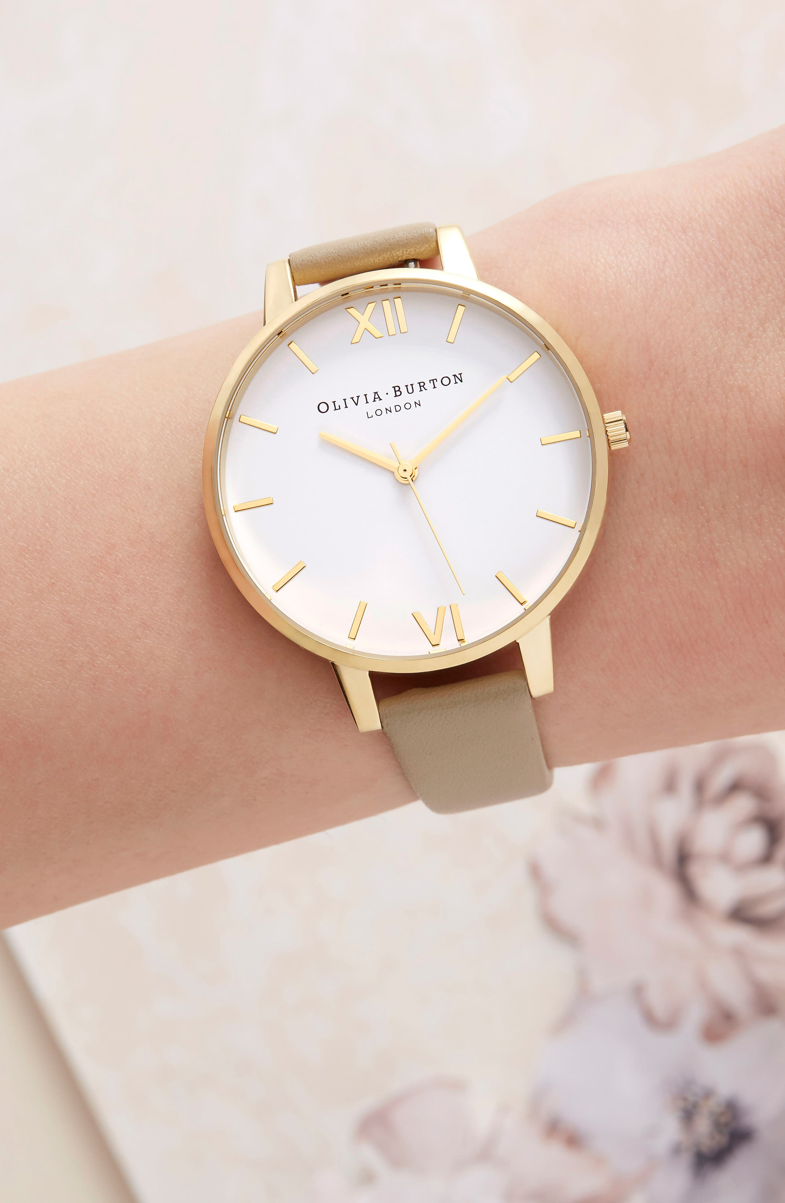 Leather Strap Watch, 38mm,                             Alternate thumbnail 6, color,                             SAND/ WHITE/ GOLD