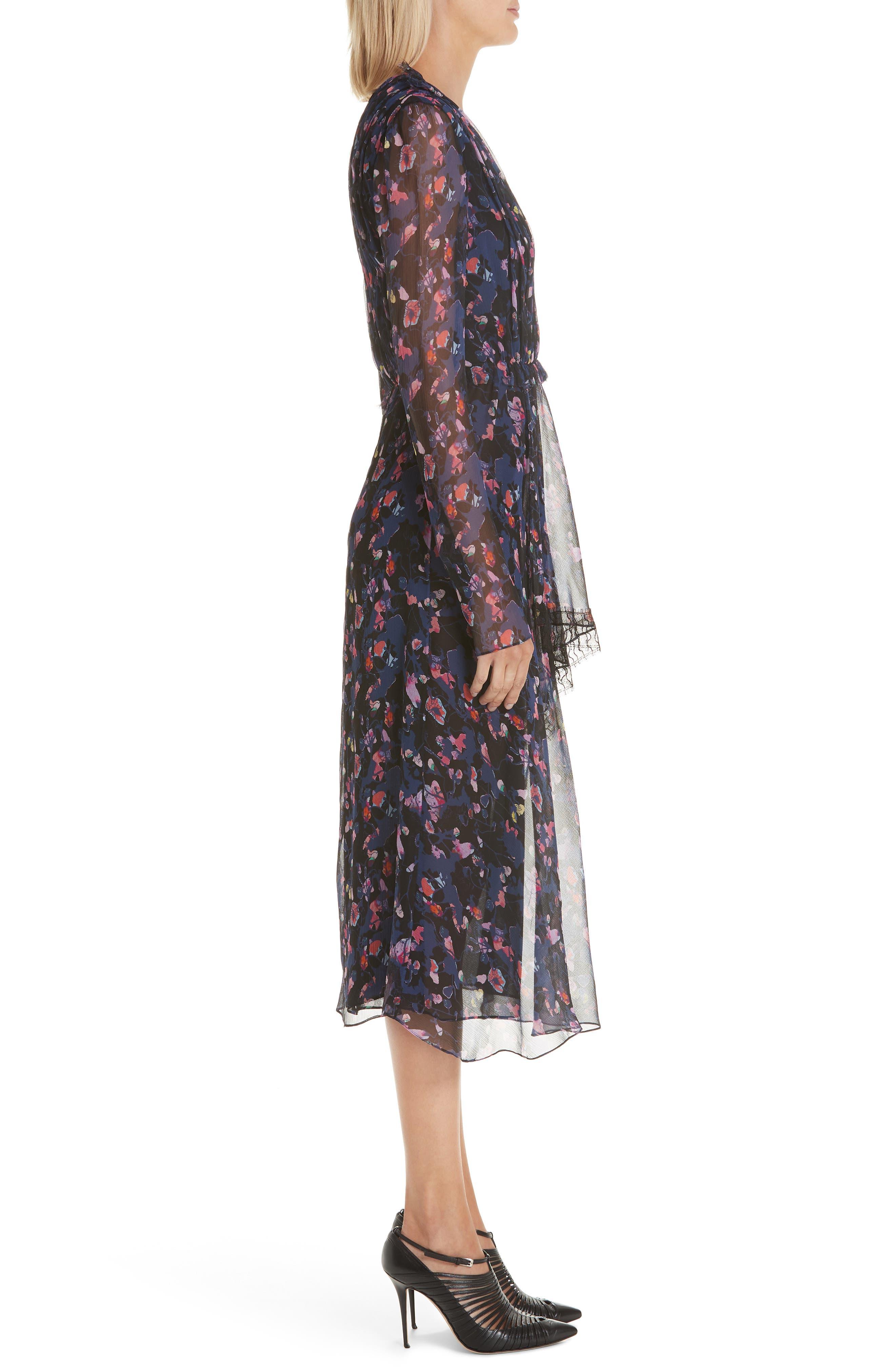 Print Silk Chiffon Midi Dress,                             Alternate thumbnail 3, color,                             BLACK MULTI