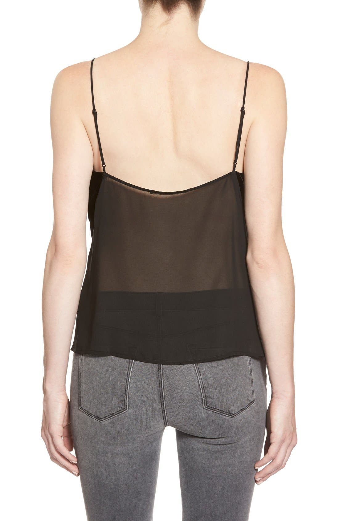 'Lucy' Velvet Front Camisole,                             Alternate thumbnail 3, color,                             BLACK