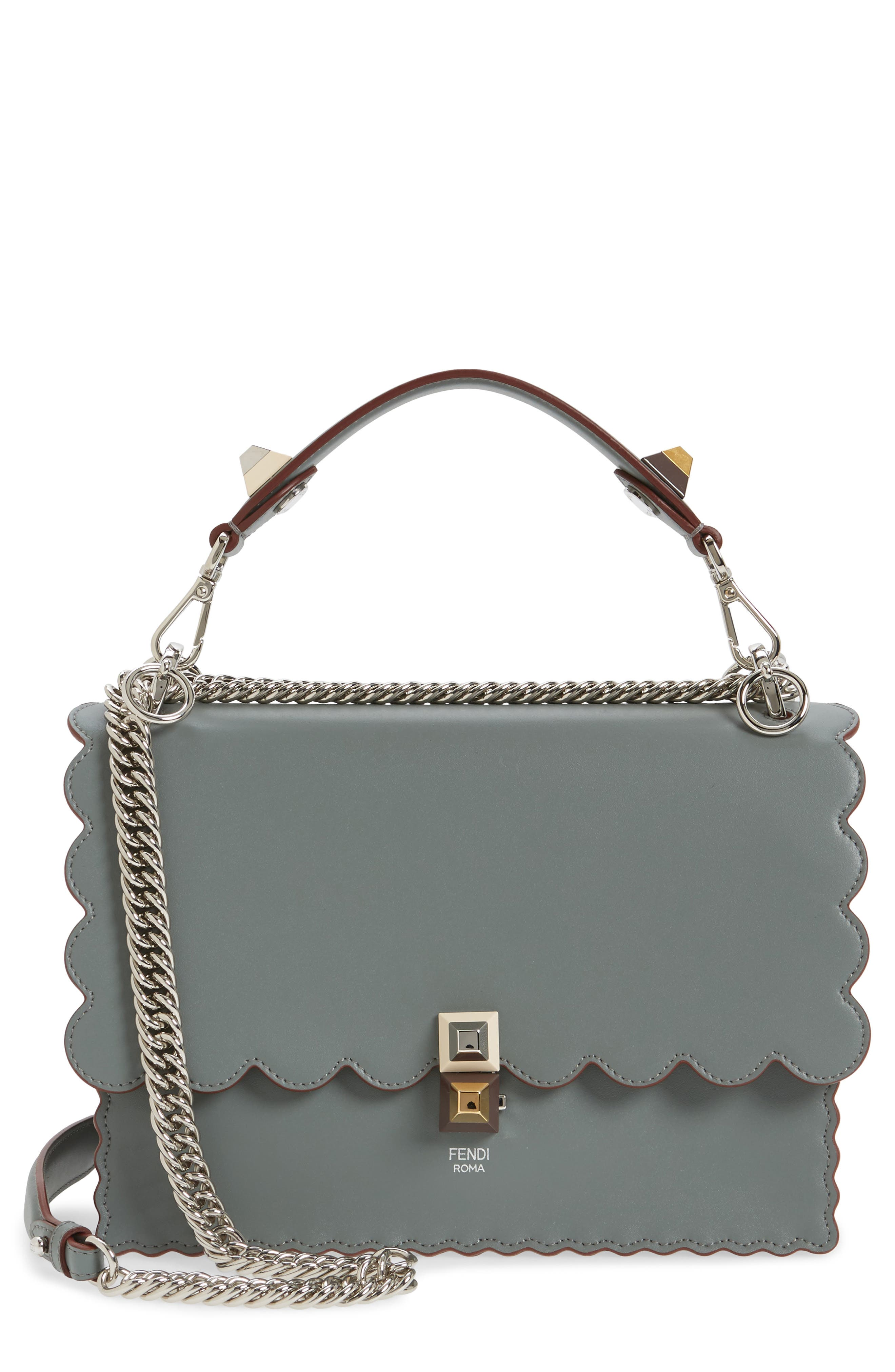 Kan I Scallop Leather Shoulder Bag,                             Main thumbnail 1, color,                             348