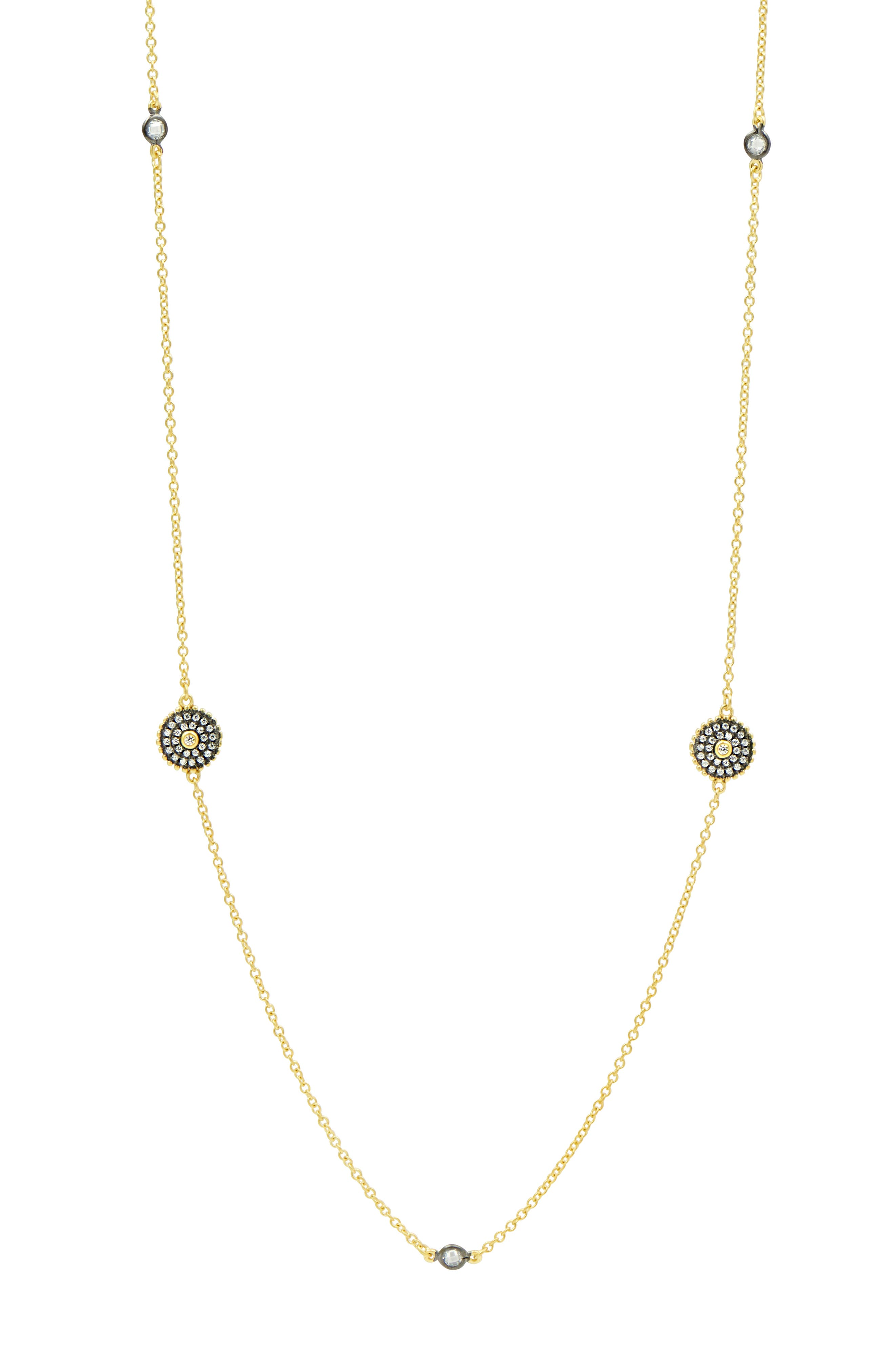 Double-Sided Pavé Disc Station Necklace,                             Alternate thumbnail 2, color,                             BLACK/ WHITE/ GOLD