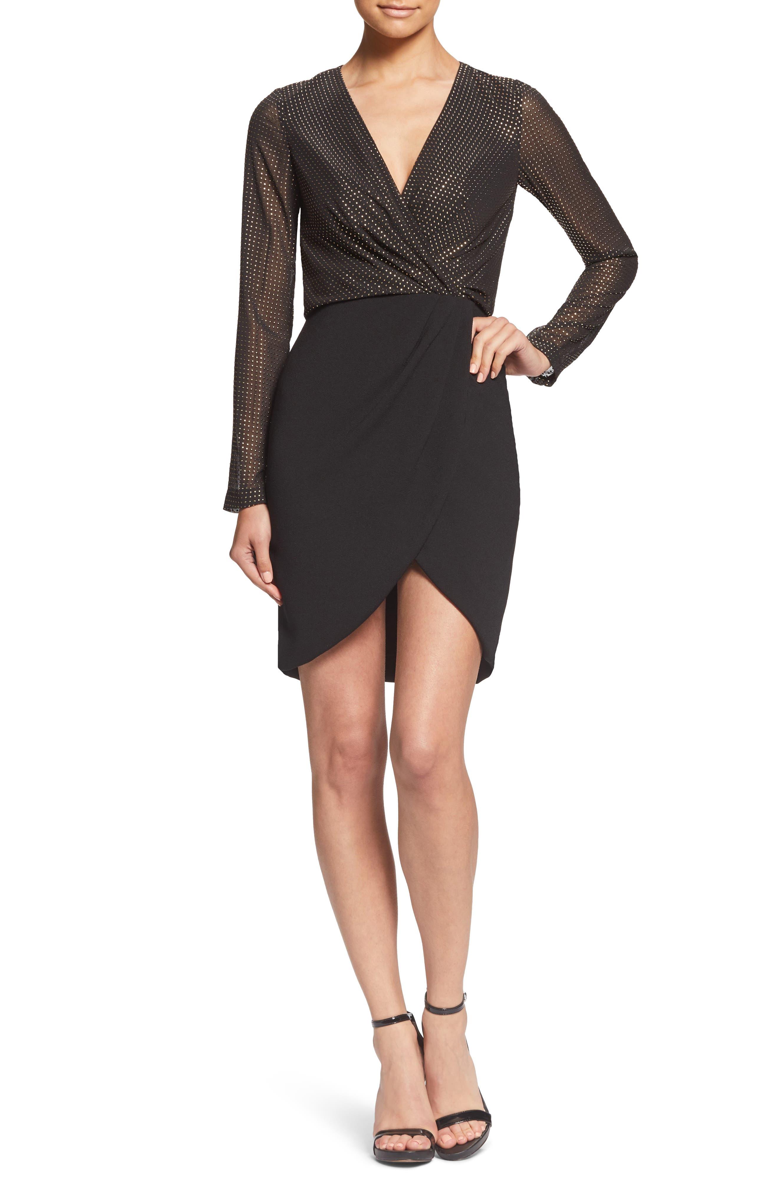 Dress The Population Miranda Studded Bodice Faux Wrap Cocktail Dress, Black