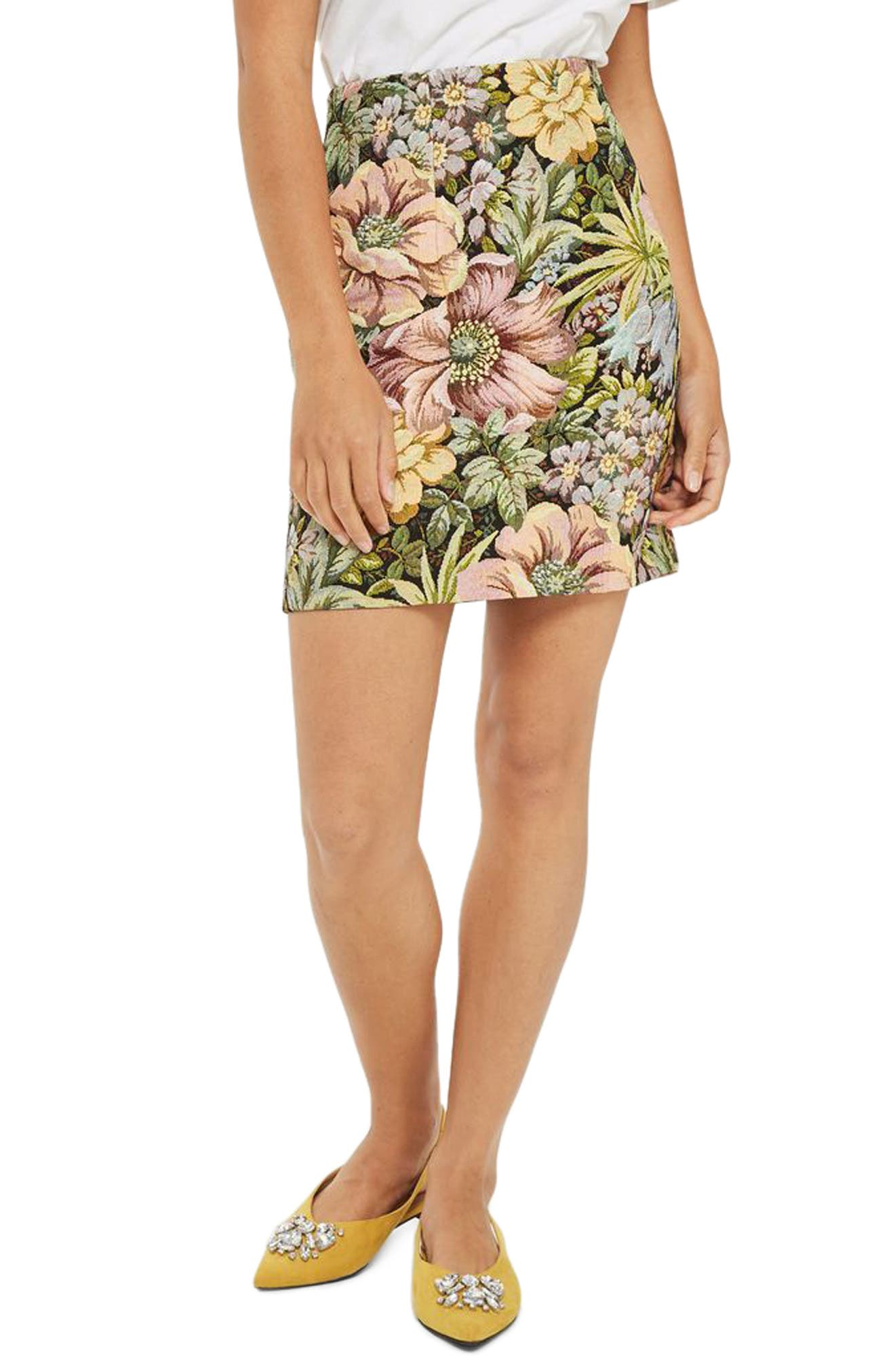 High Waist Tapestry Miniskirt,                         Main,                         color,