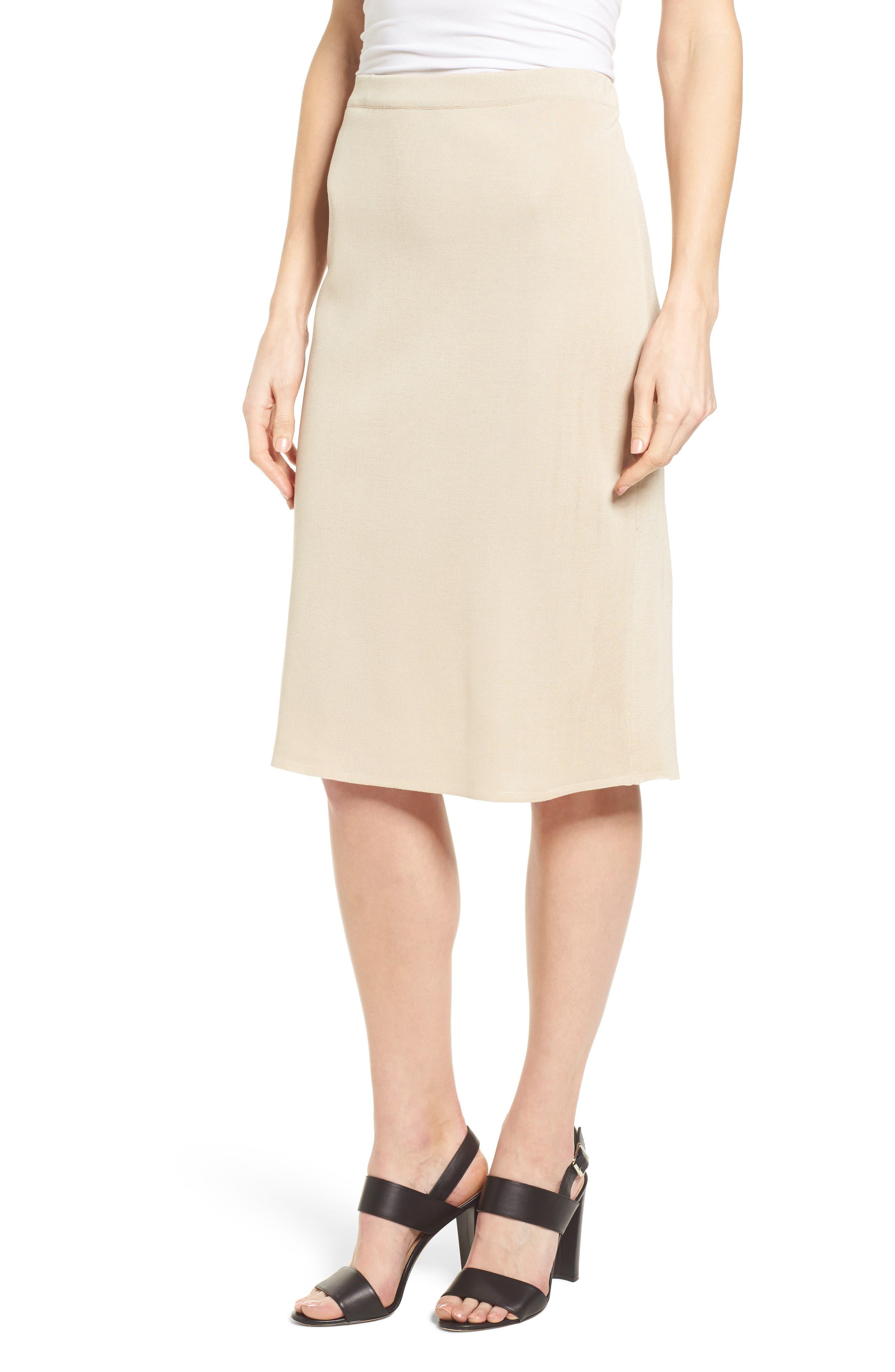 Ming Wang Straight Skirt, Beige