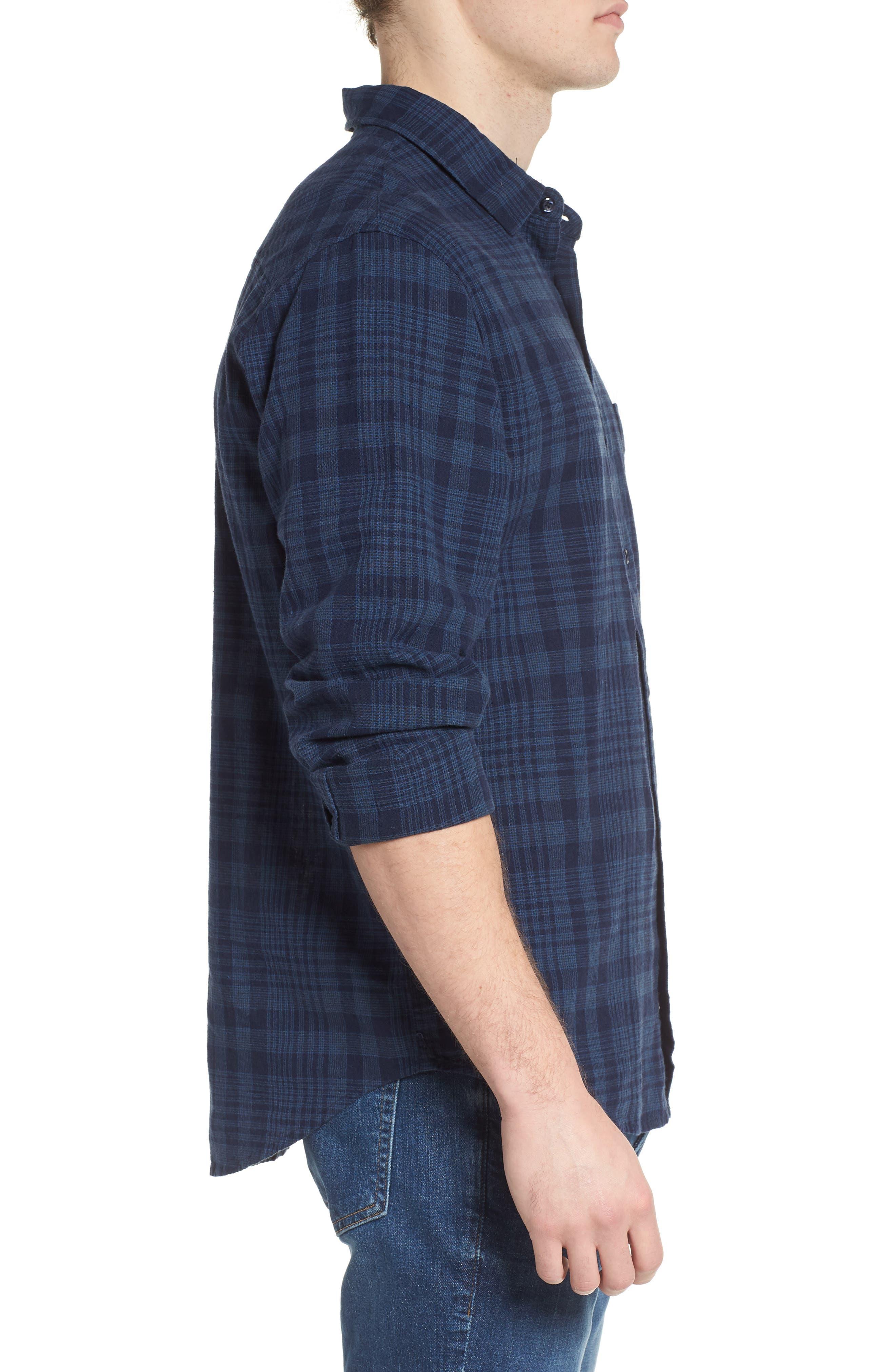 Connor Plaid Linen Blend Sport Shirt,                             Alternate thumbnail 3, color,                             497